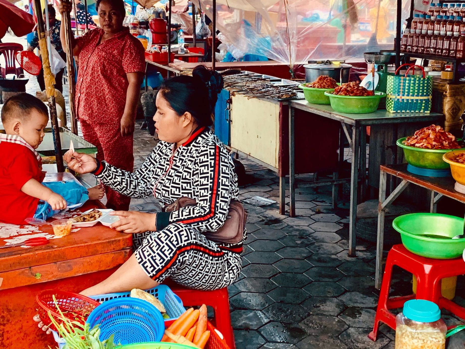 Mother and son Kep Crab Market