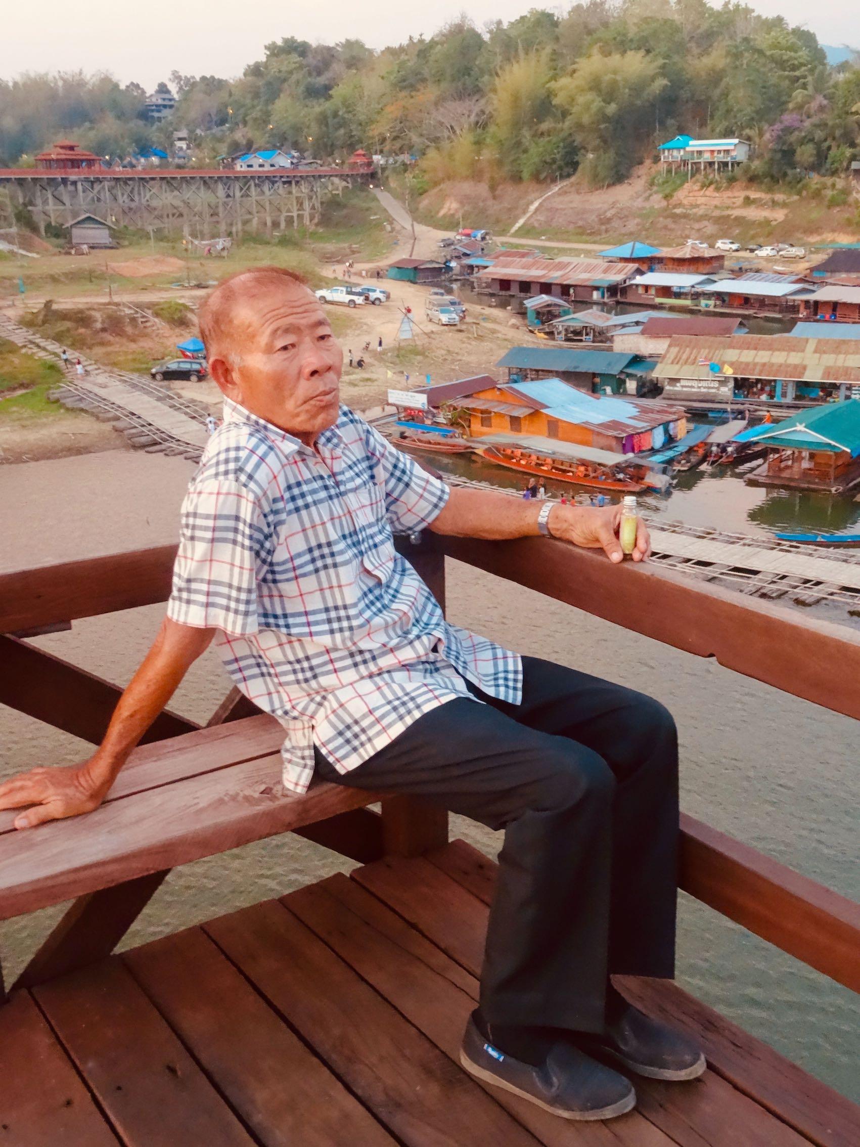 Old man Sangkhlaburi Thailand.