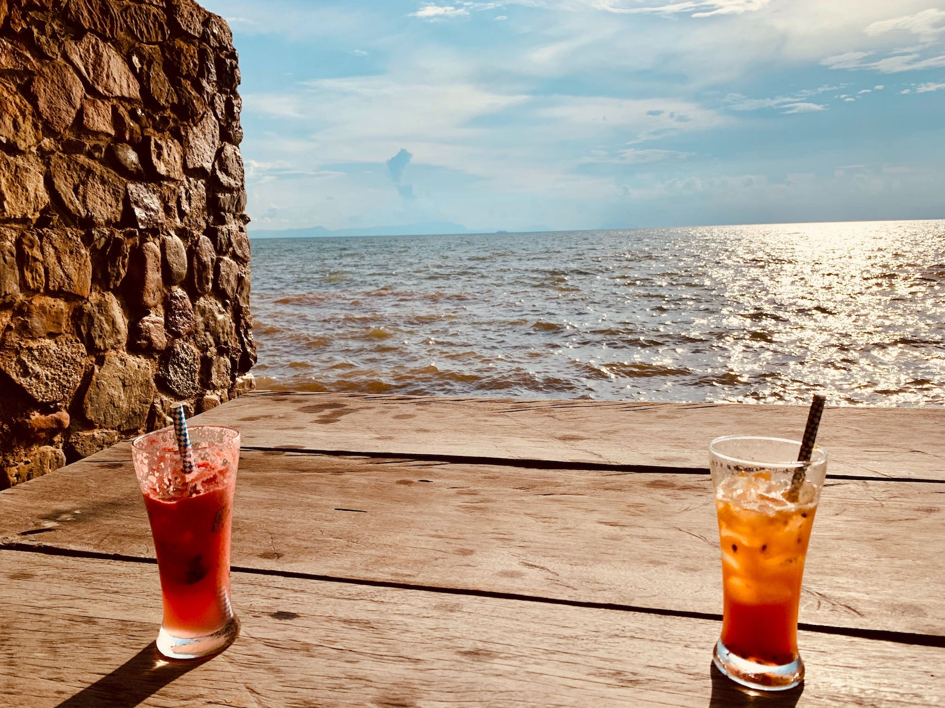 Sea views from The Strand Restaurant in Kep