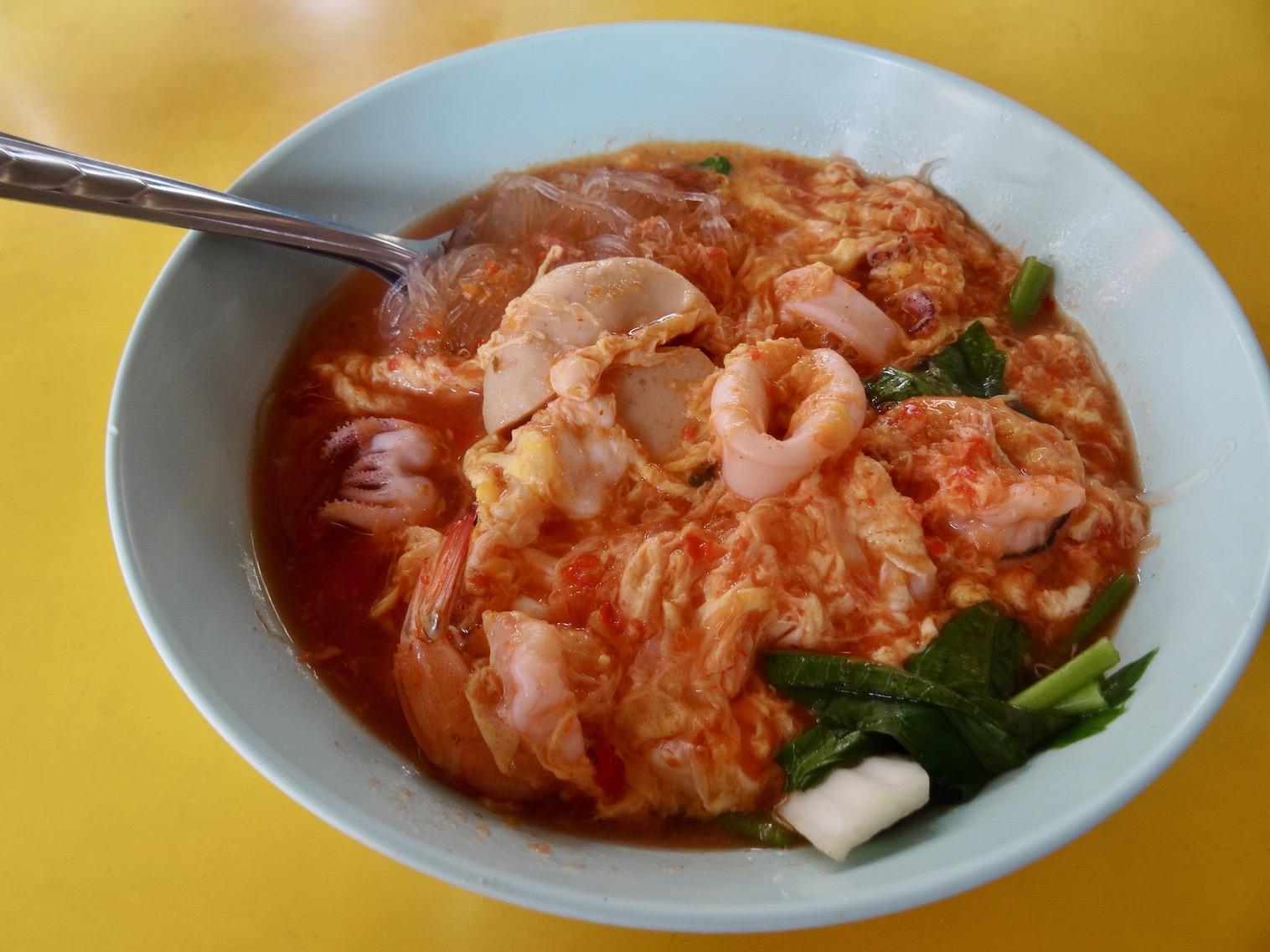 Seafood noodle soup Kanchanburi in Thailand