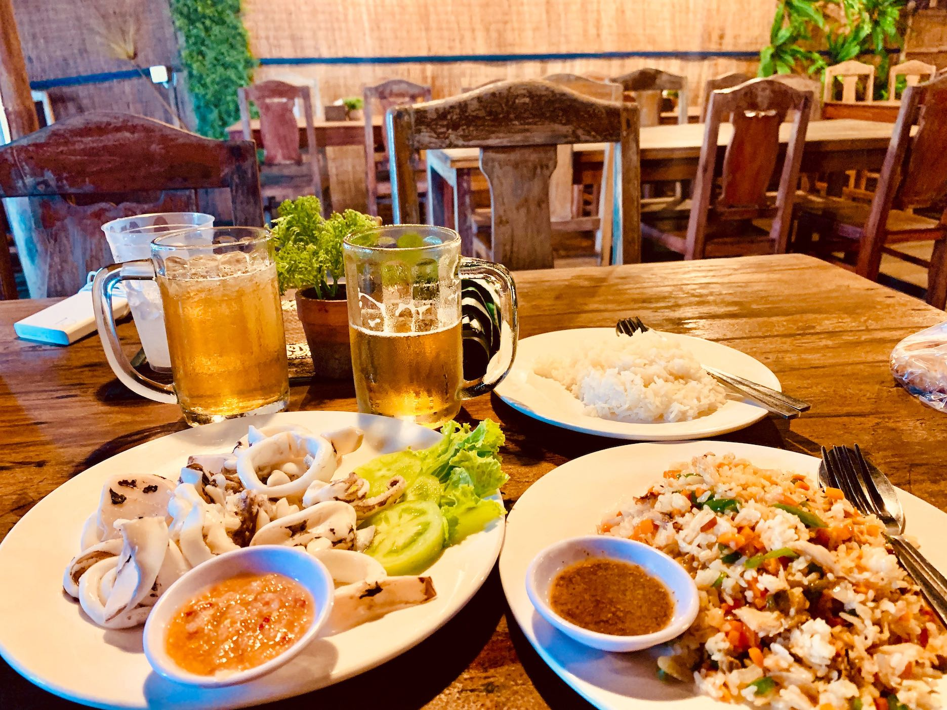 Squid with vegetable fried rice Arts Cafe Kep