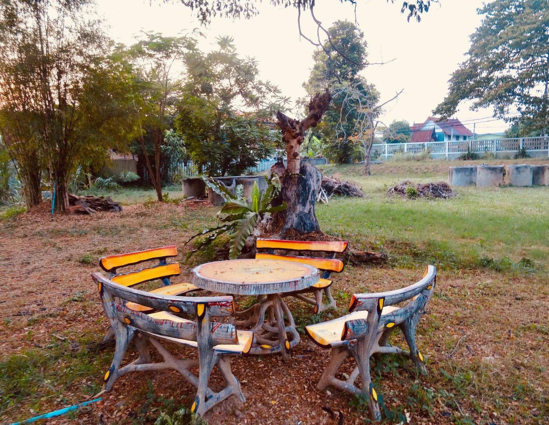 The garden at Baan Lotus Guesthouse in Ayutthaya
