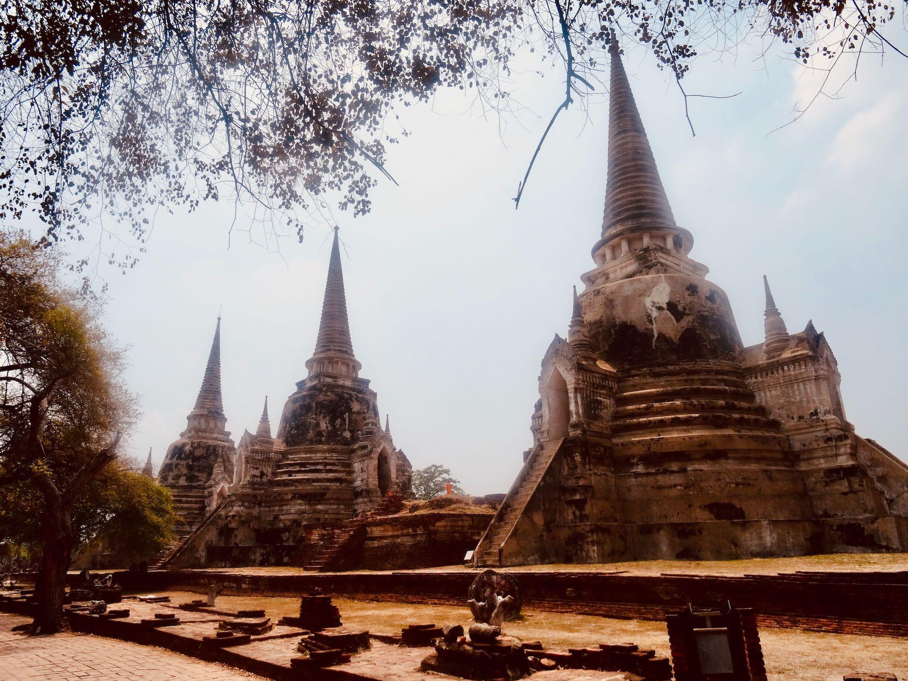 The three bell shaped stupas of Wat Phra Si Sanphet