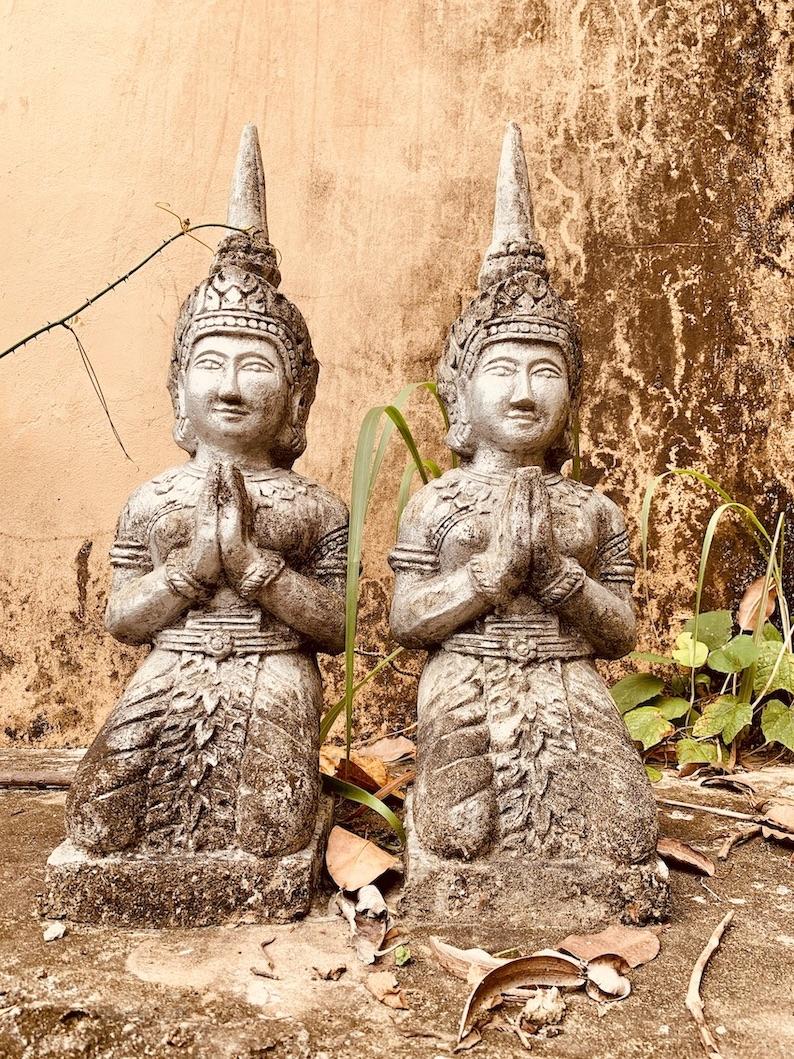 Twin Buddha sculptures Samathi Pagoda Kep