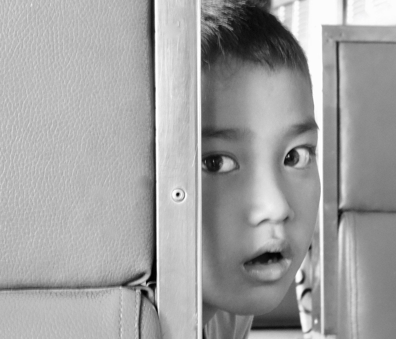 Young Thai boy on the train from Bangkok to Ayutthaya