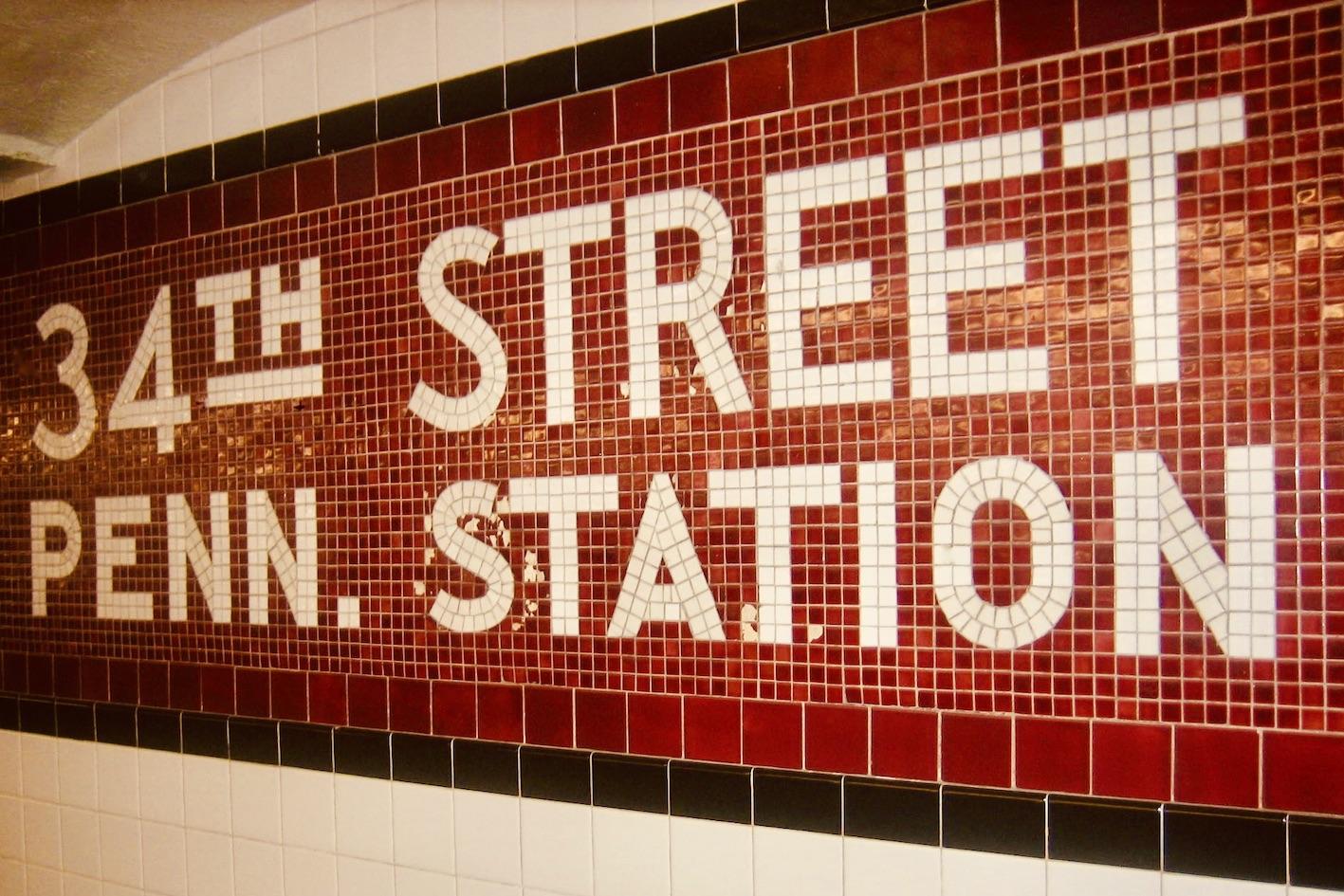 34th Street Penn Station sign NYC.