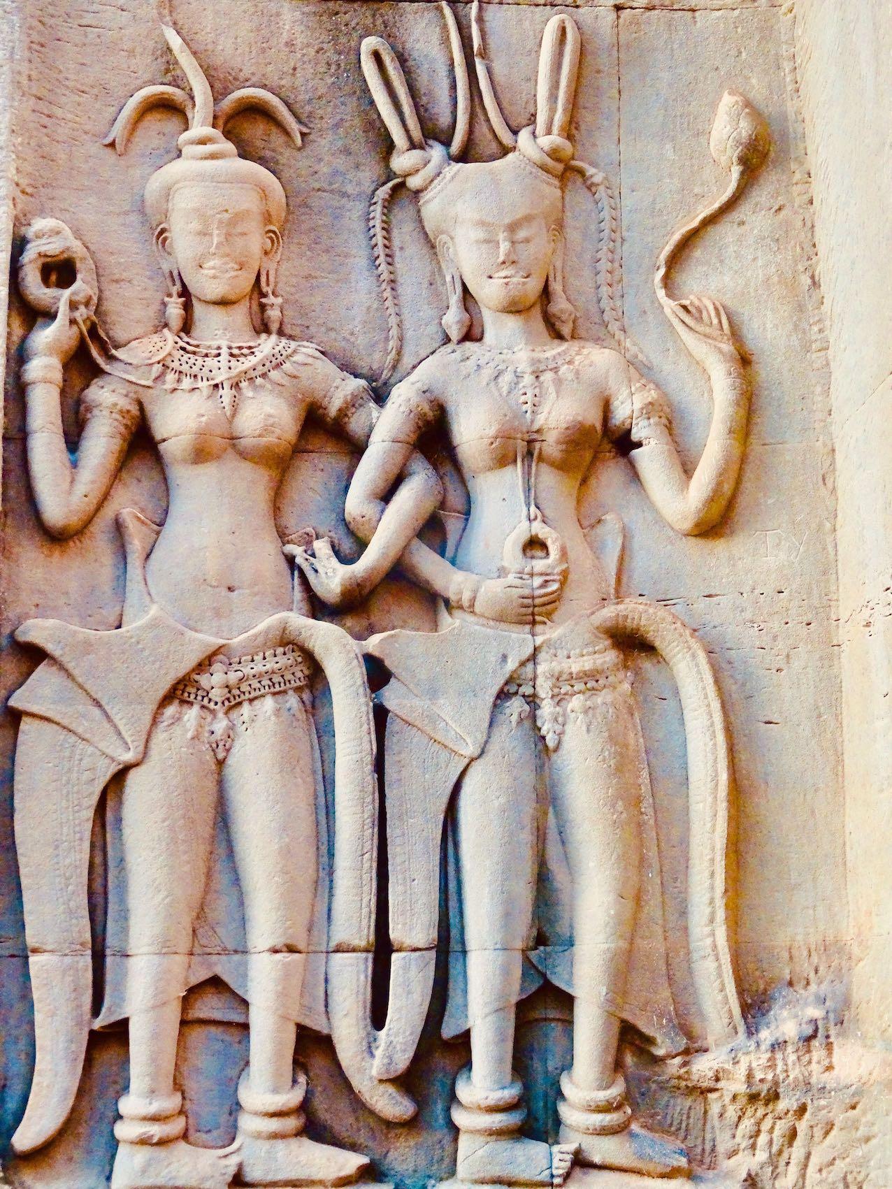 Buddhist sculptures at Angkor Wat