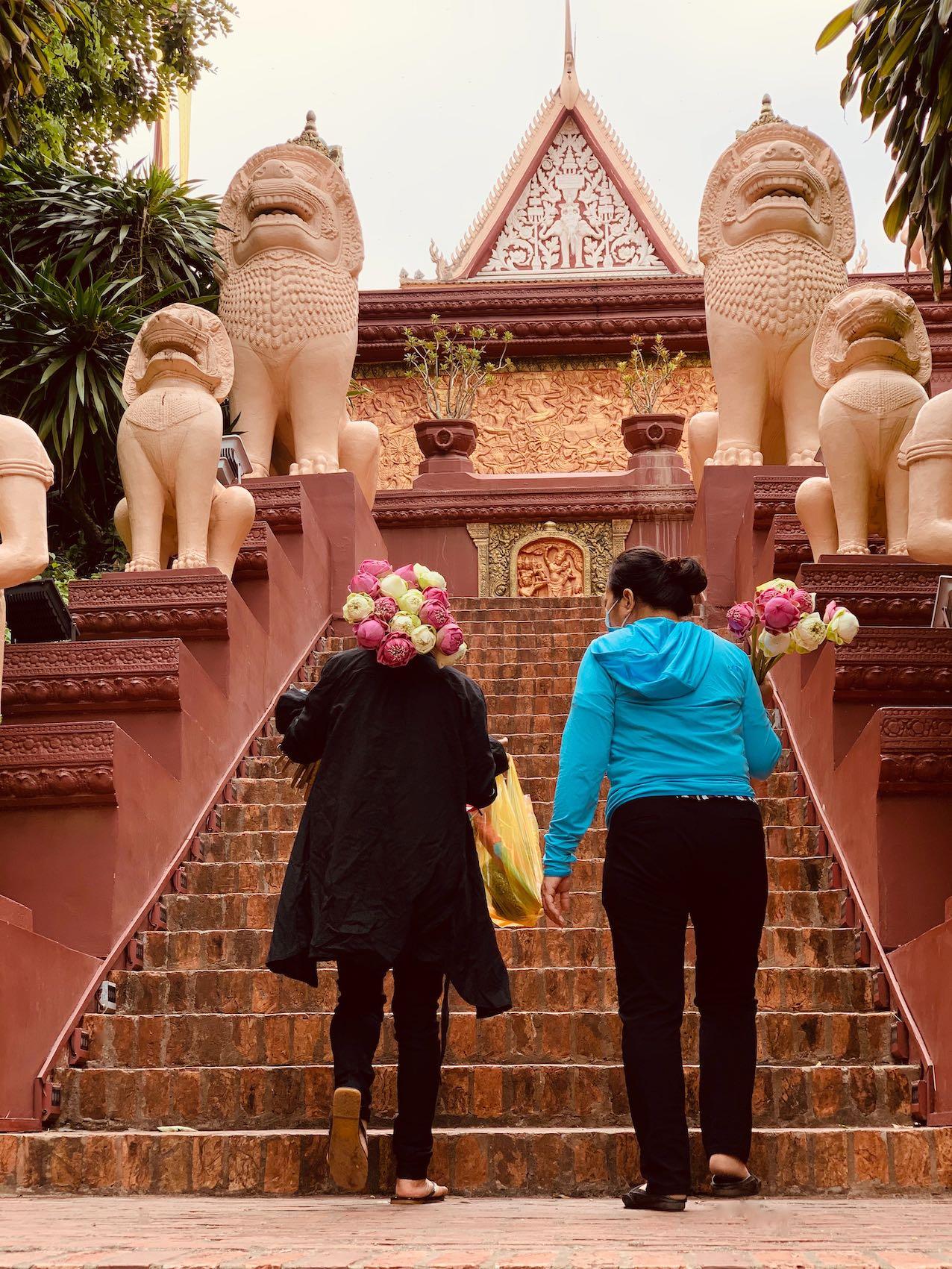 Climbing Wat Phnom in Phnom Penh
