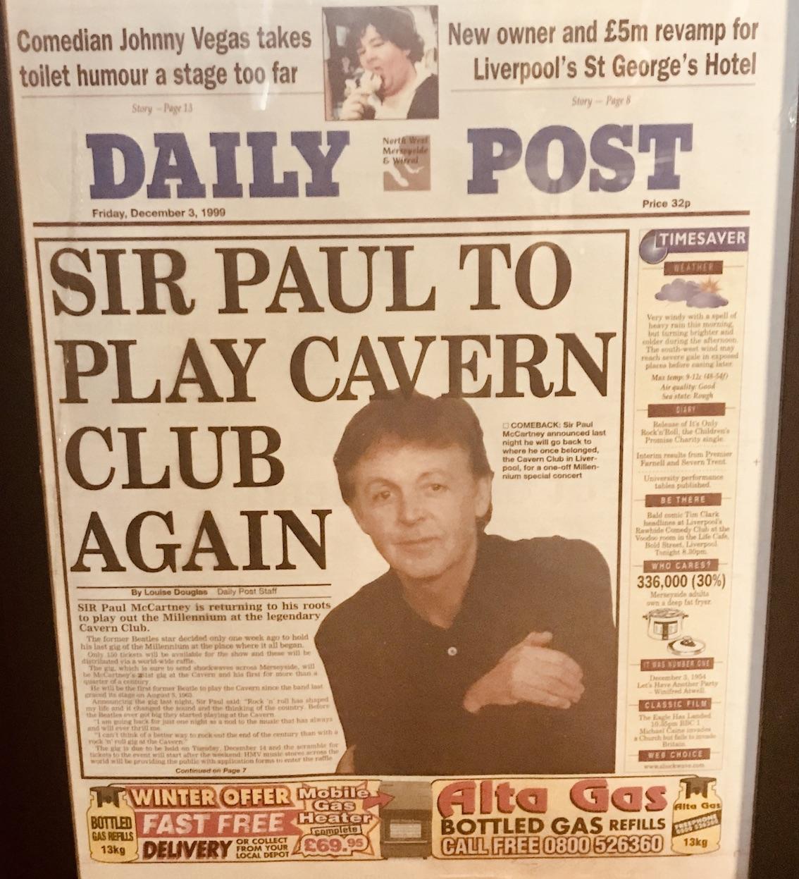Daily Post Sir Paul McCartney to play Cavern Club Again