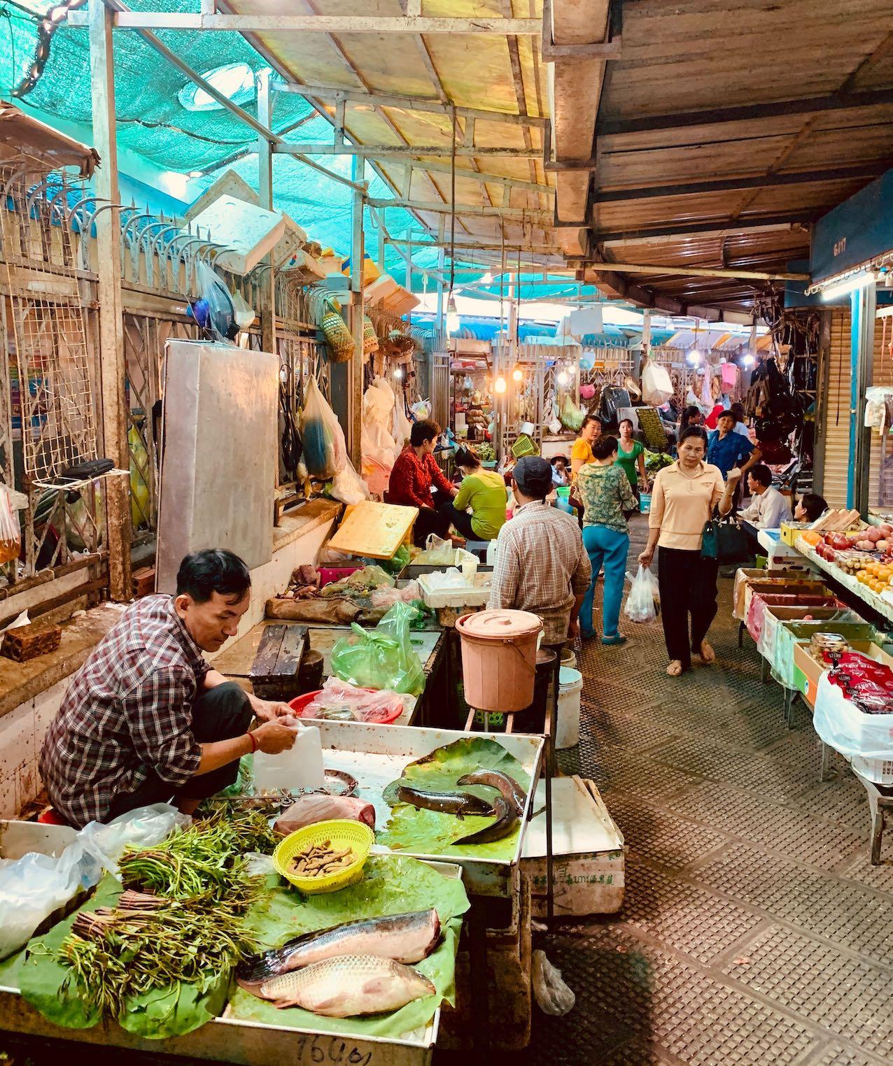 Fruit veg and fresh fish Central Market Phnom Penh