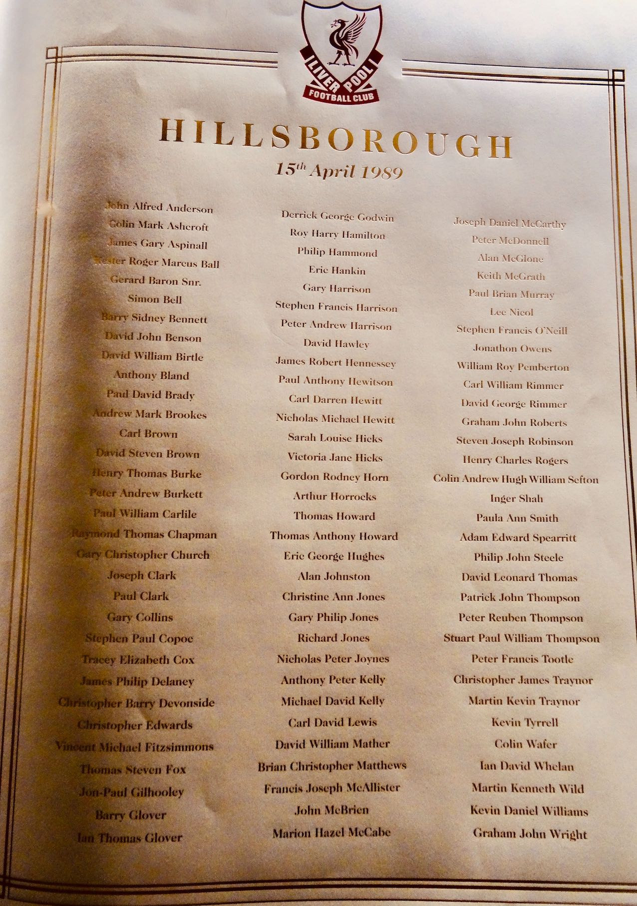 Hillsborough Disaster Memorial Book Liverpool Metropolitan Cathedral