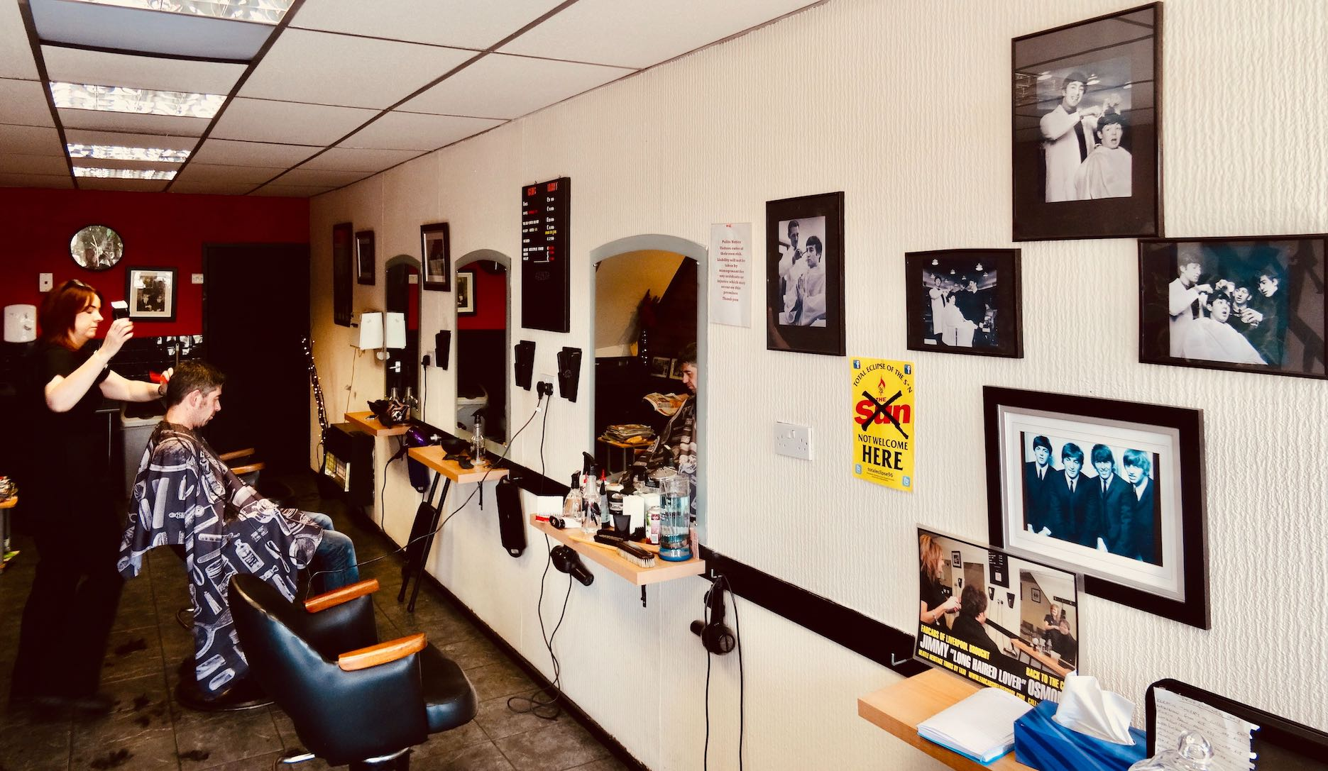 Inside Tony Slavin Barber Shop Mad Day Out Beatles Taxi Tour