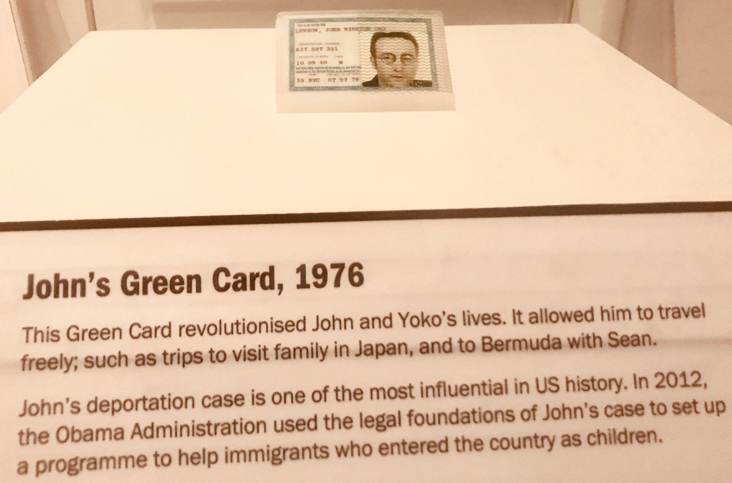 John Lennon's Green Card Double Fantasy Exhibition Liverpool