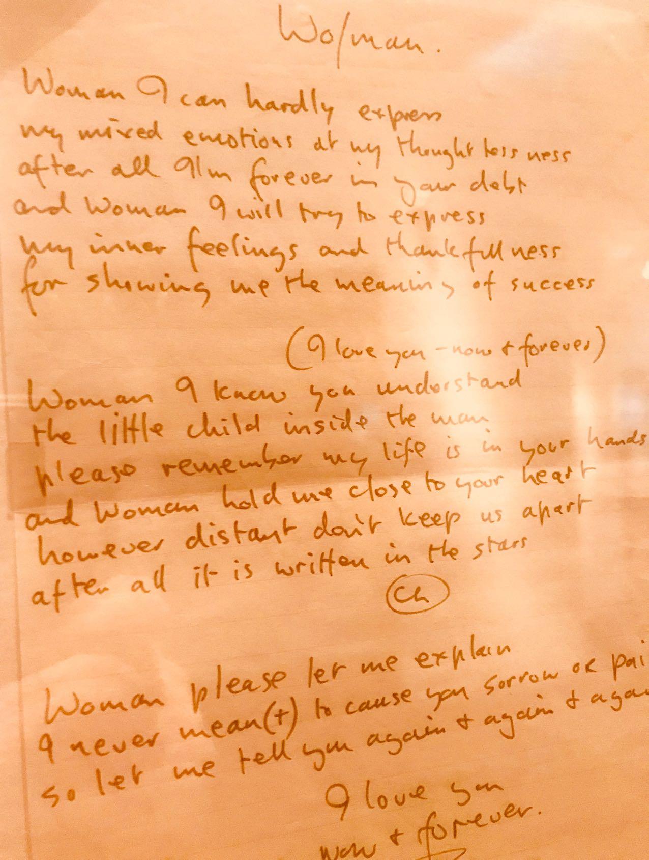 John Lennon's handwritten lyrics to Woman