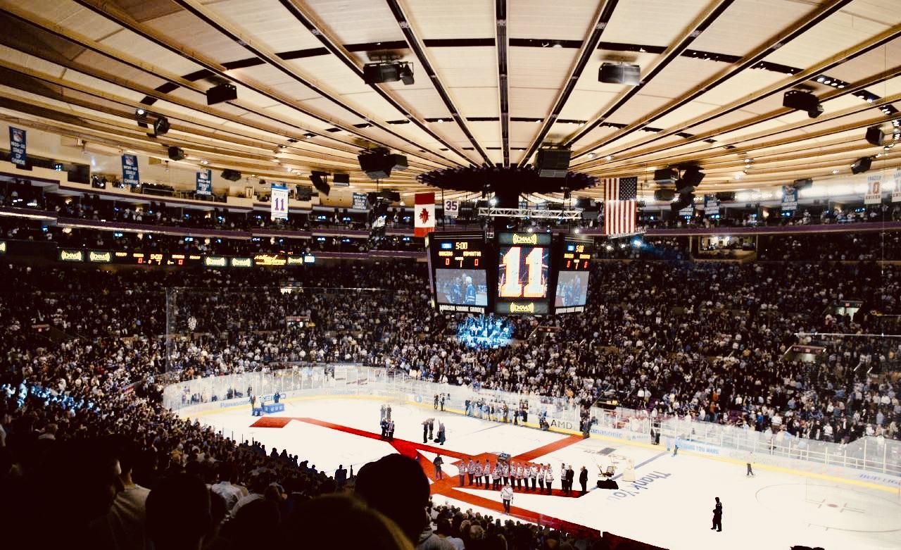 Live ice hockey at Madison Square Garden