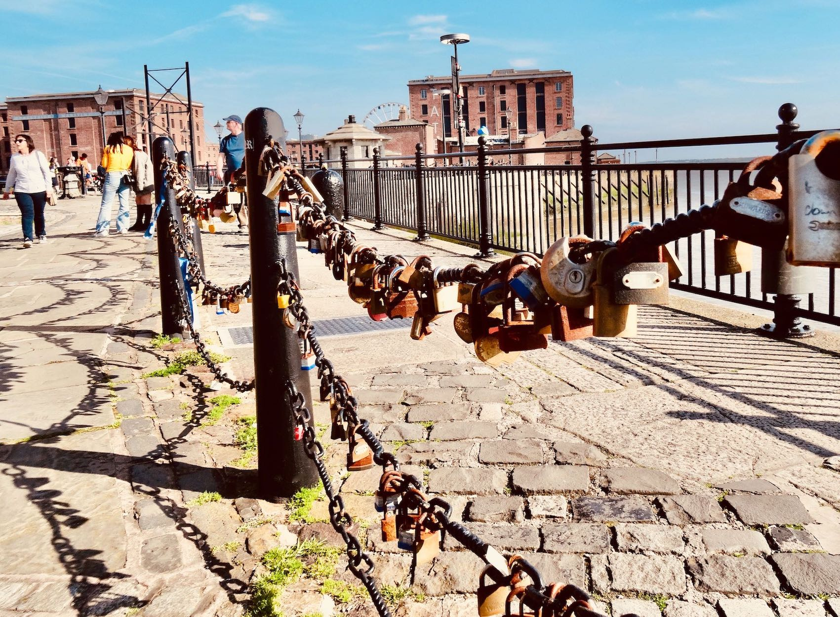 Love locks on The Liverpool Waterfront