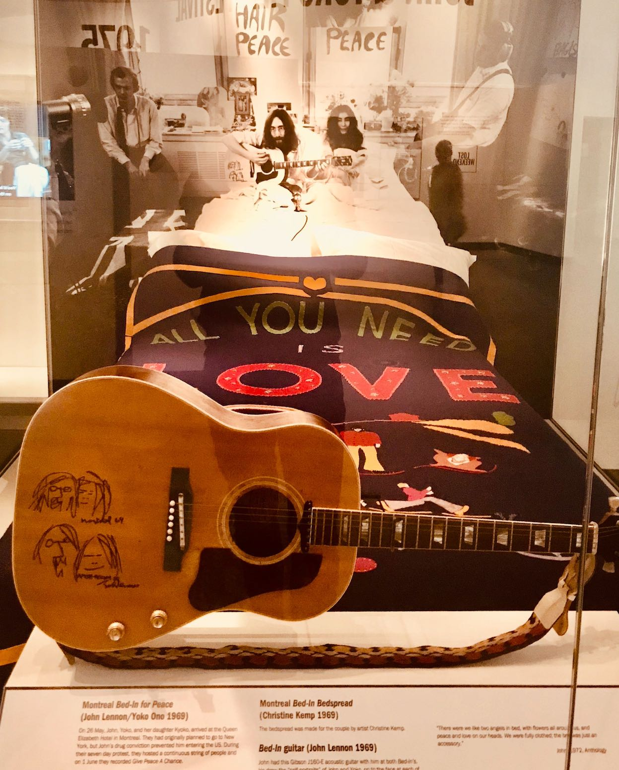 Montreal Bed-In bedspread Double Fantasy John and Yoko Exhibition Liverpool