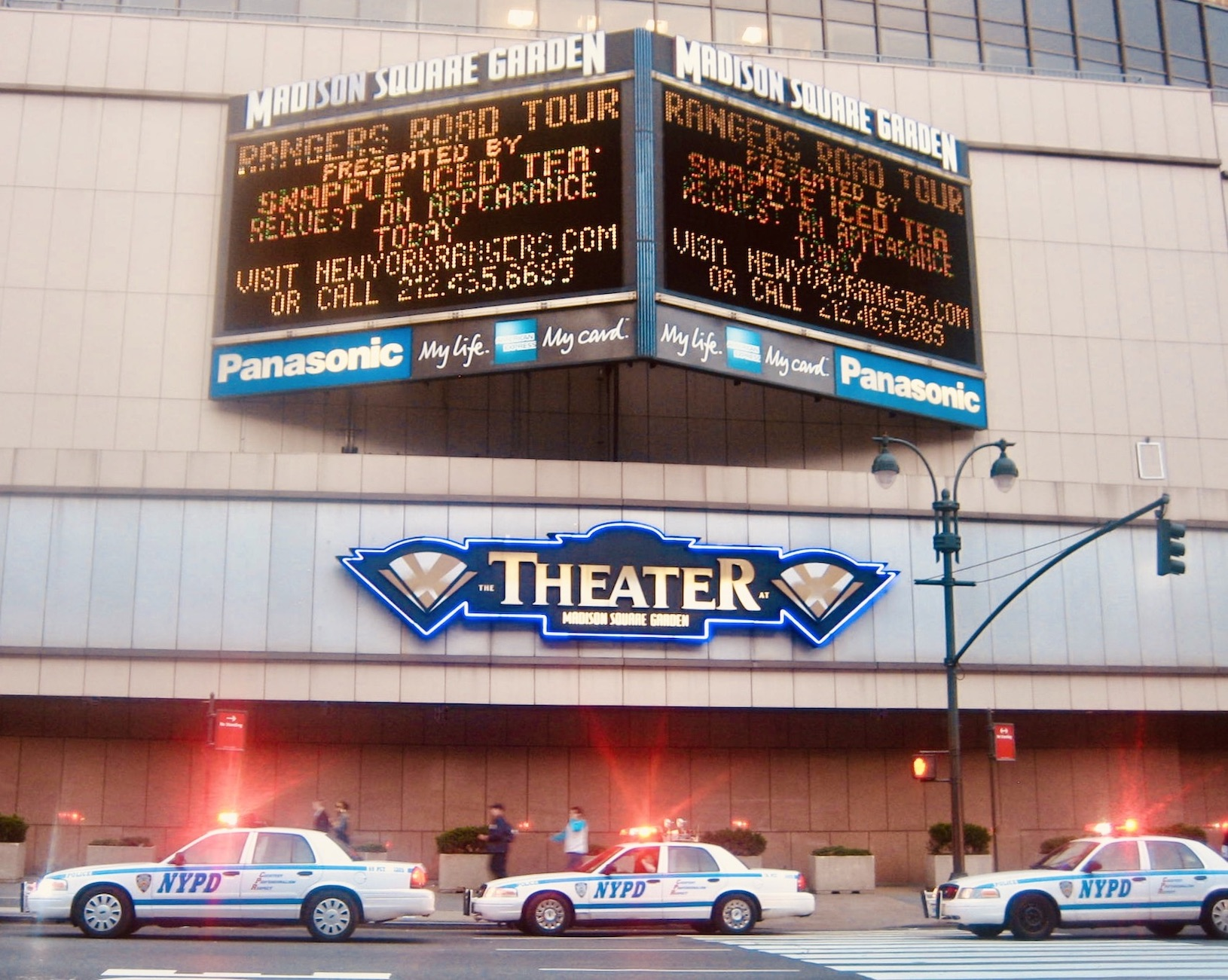 NYPD cars gather outside Madison Square Garden