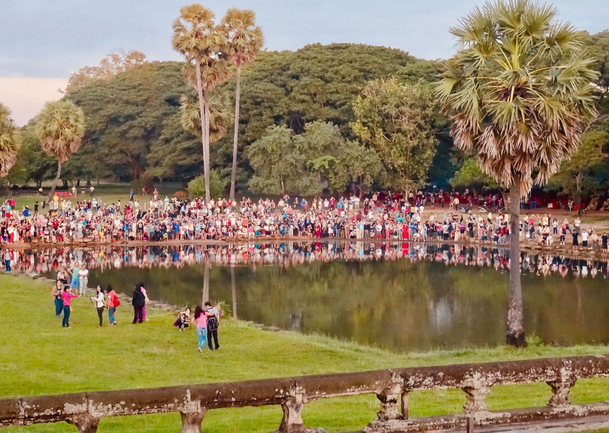 Sunset crowds gather at Angkor Wat