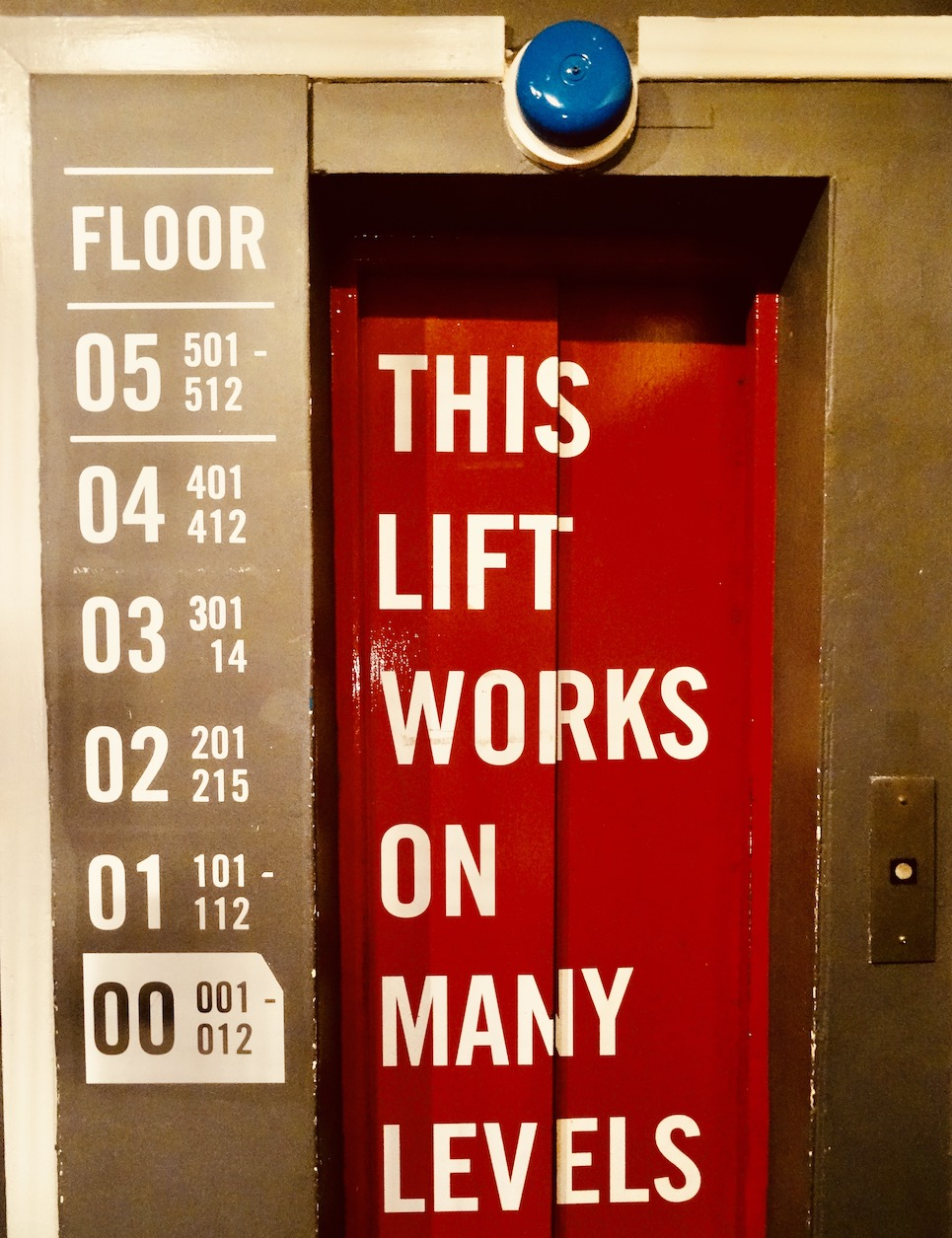 The elevator at Hatters Hostel Liverpool