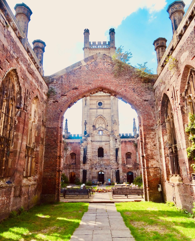 The ruin of St Luke's Church in Liverpool