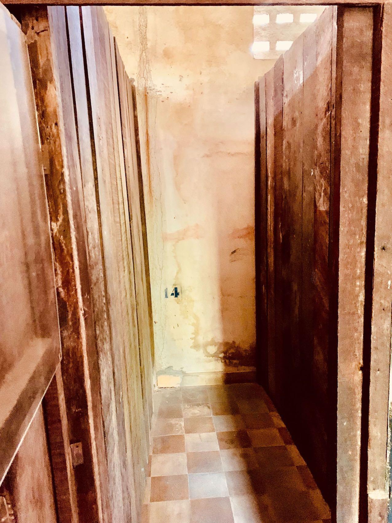 Tiny prison cell S-21 prison Cambodia