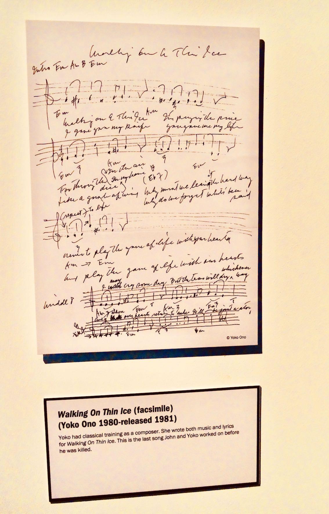 Walking on Thin Ice handwritten lyrics Yoko Ono