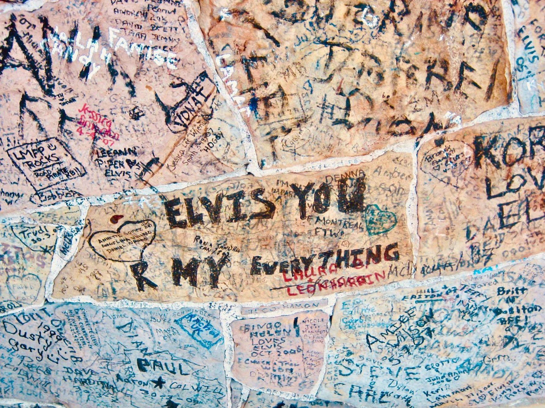 Fan graffiti at Graceland in Memphis.