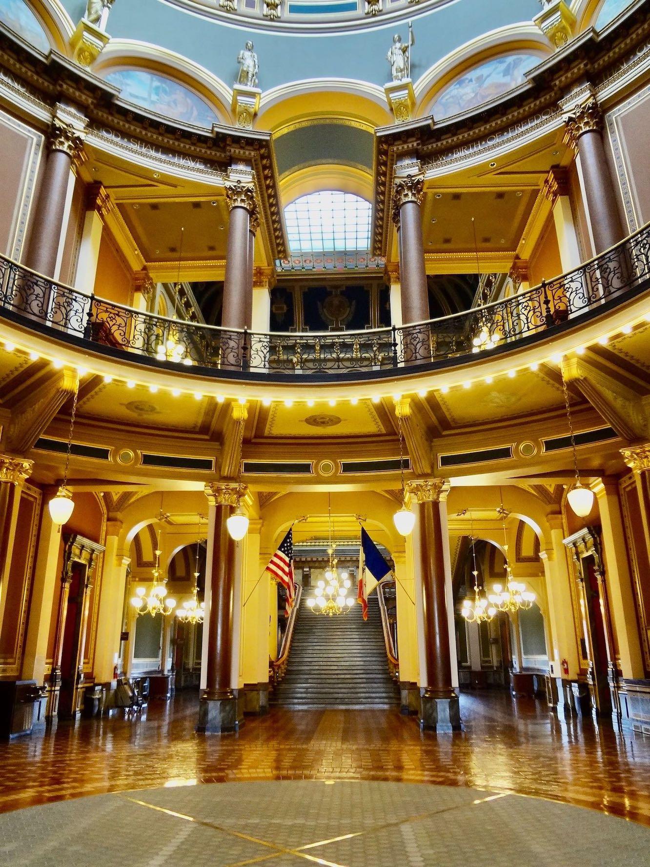 Inside the Iowa State Capital.