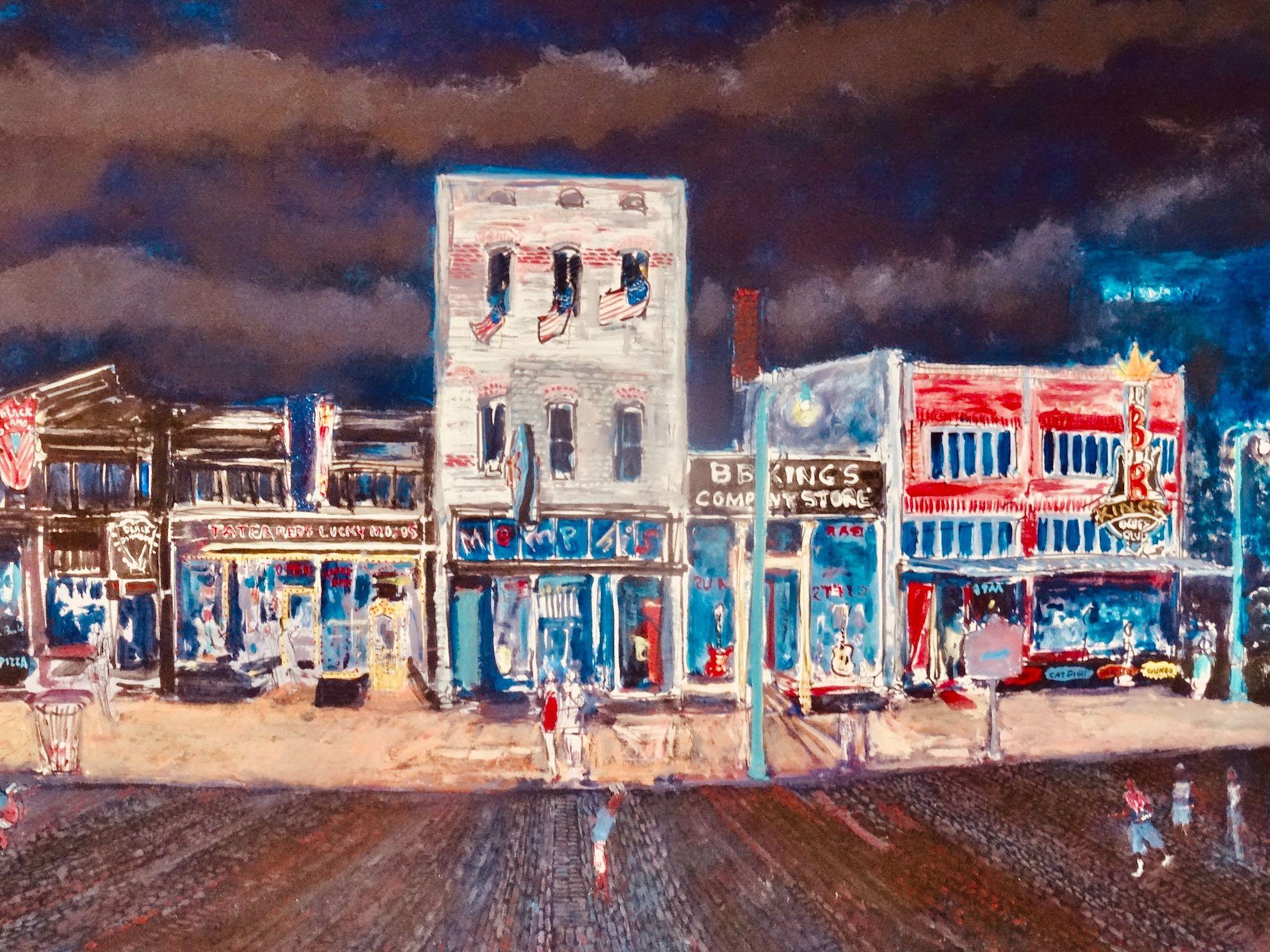 Memphis Nostalgia Beale Street painting by Stephen Hudson