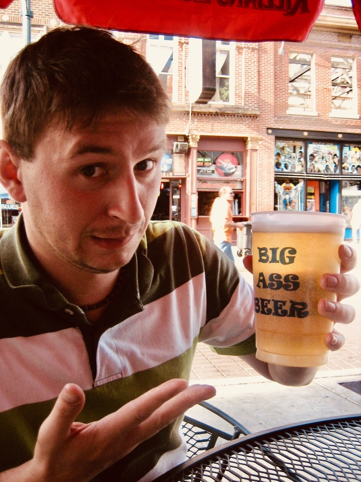 Memphis Nostalgia Enjoying a Big Ass Beer on Beale Street
