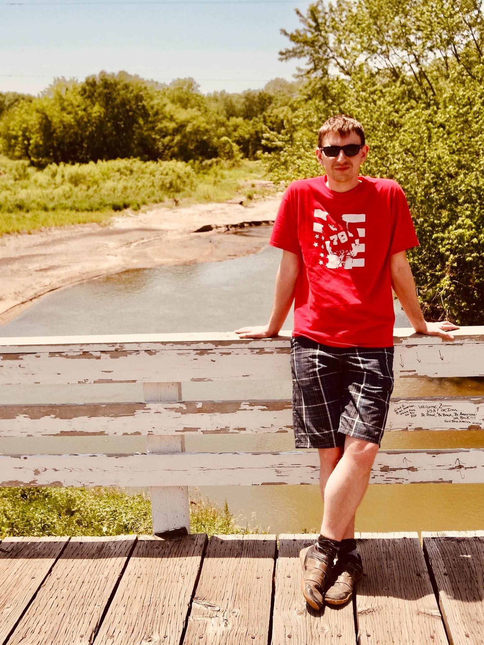 Visiting Roseman Bridge in Iowa.