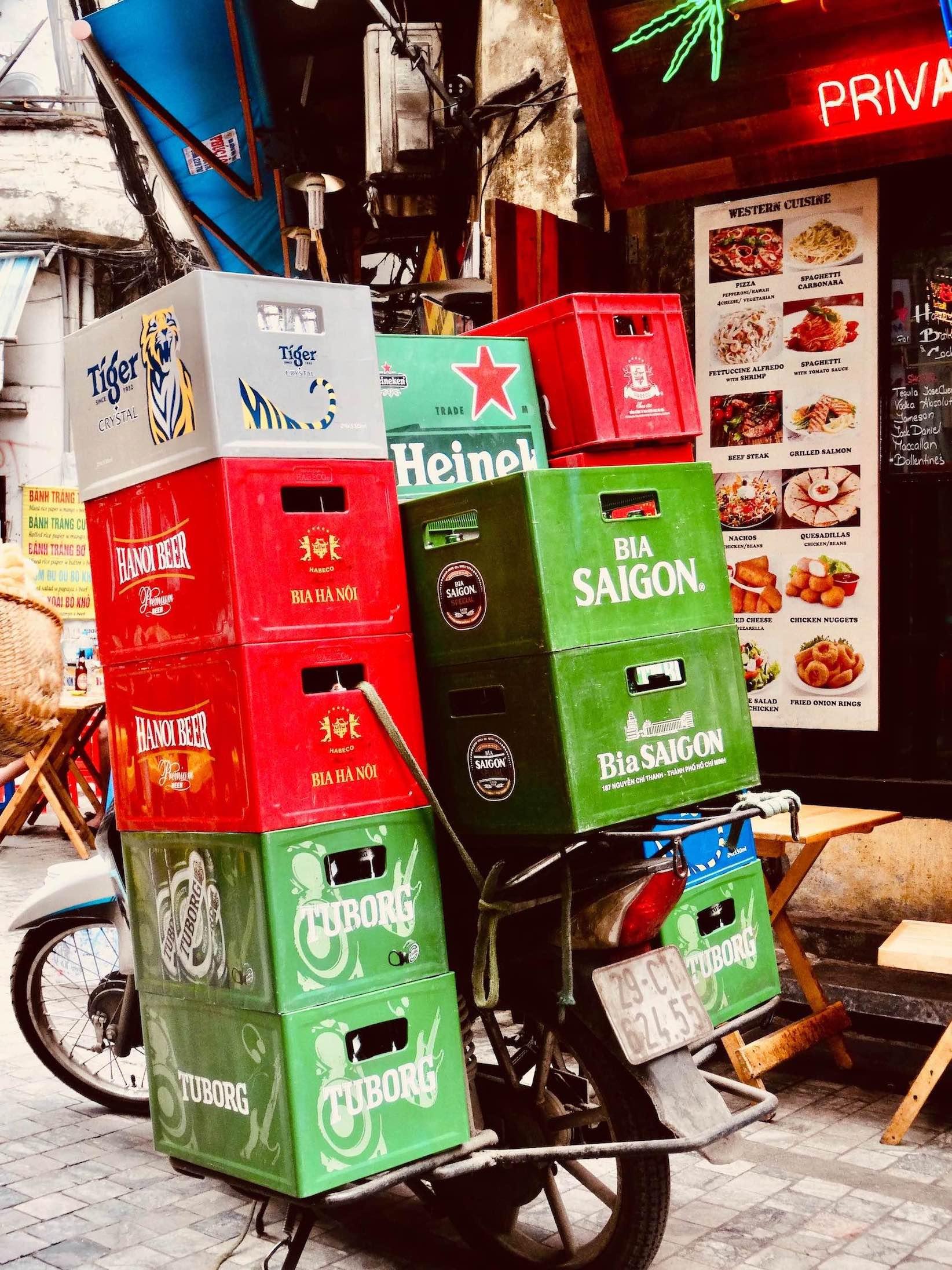 Beer crates in Hanoi Old Quarter.