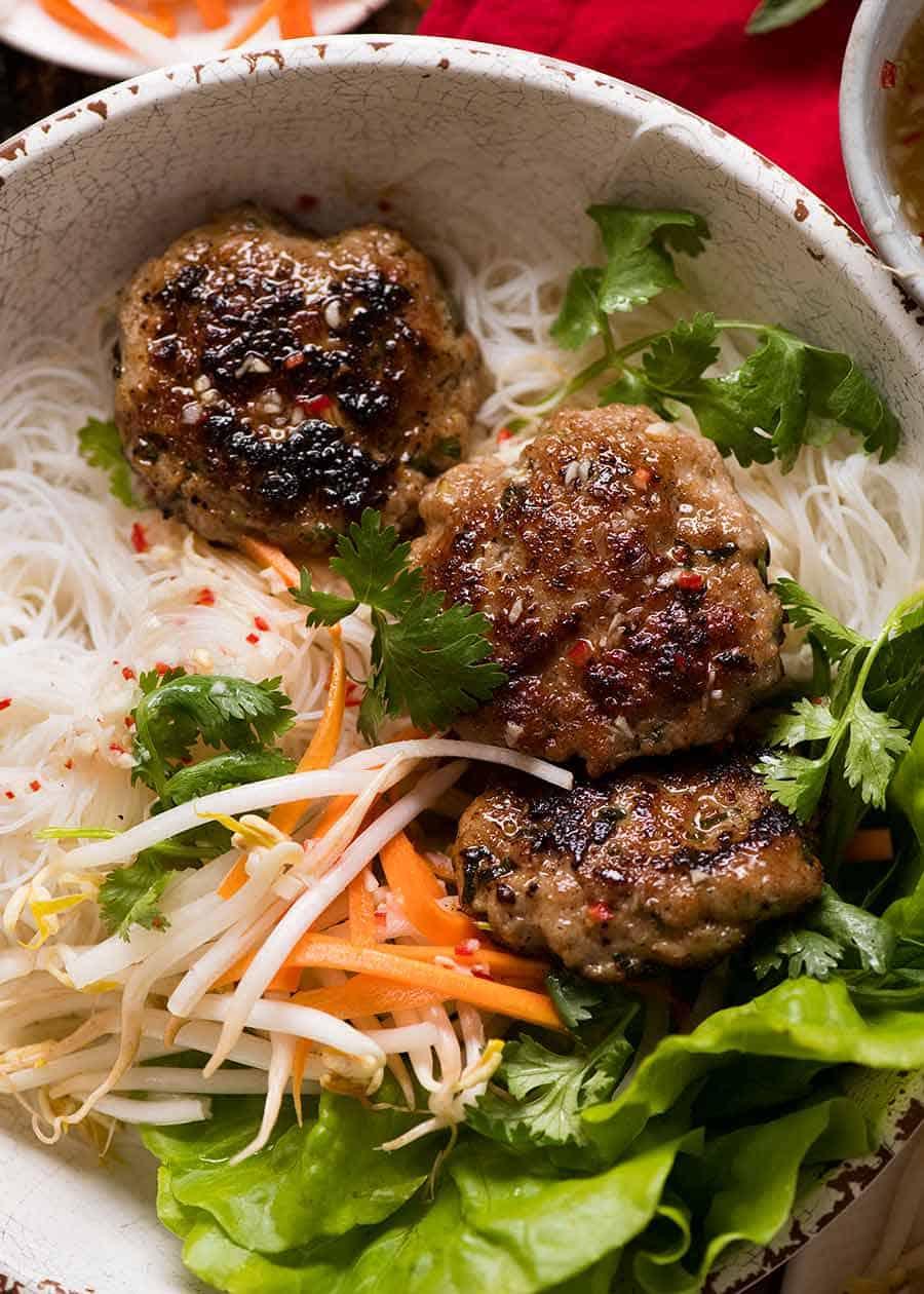 Bun cha pork with noodles Vietnamese dish