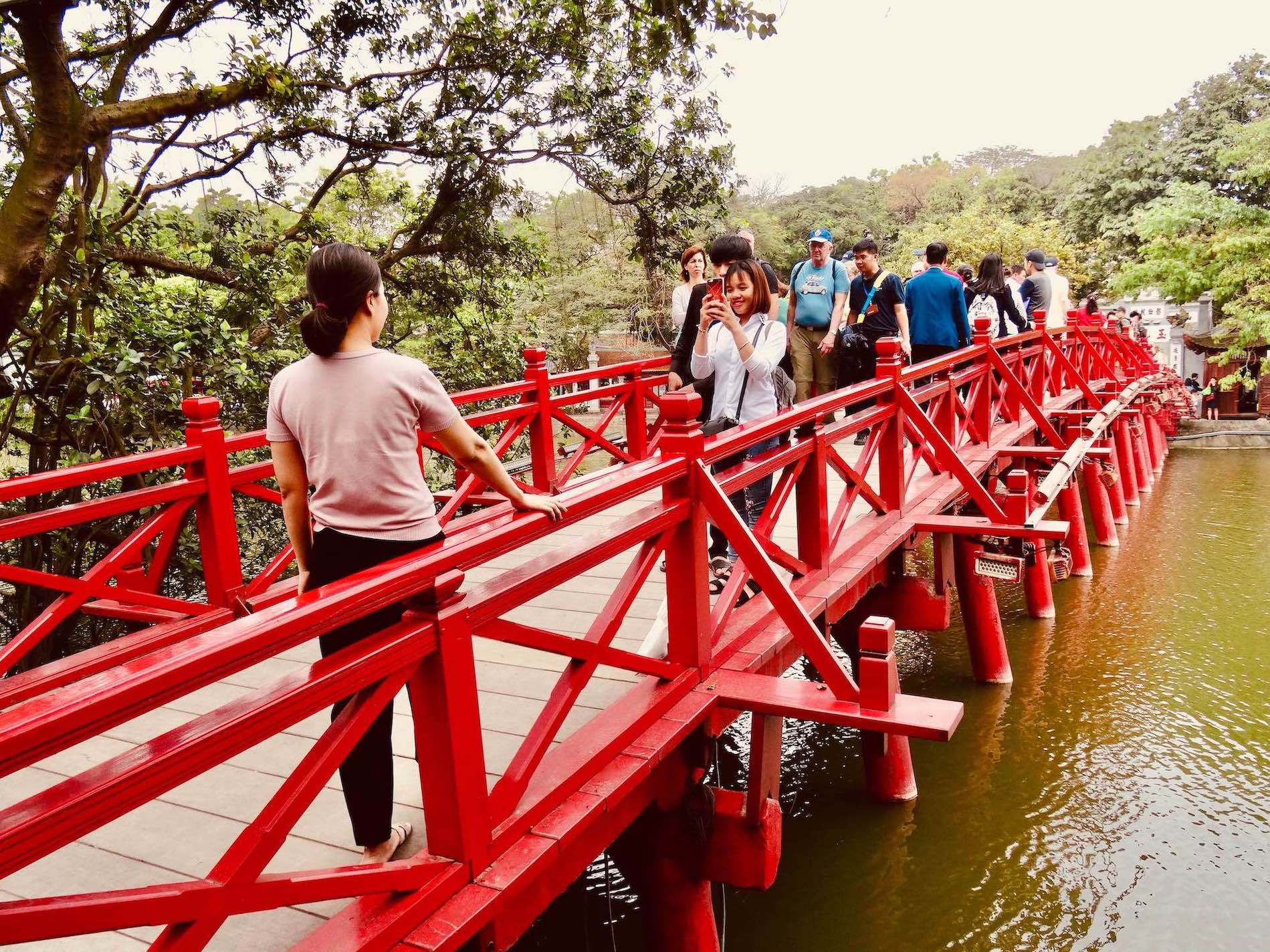 Huc Bridge Temple of the Jade Mountain in Hanoi