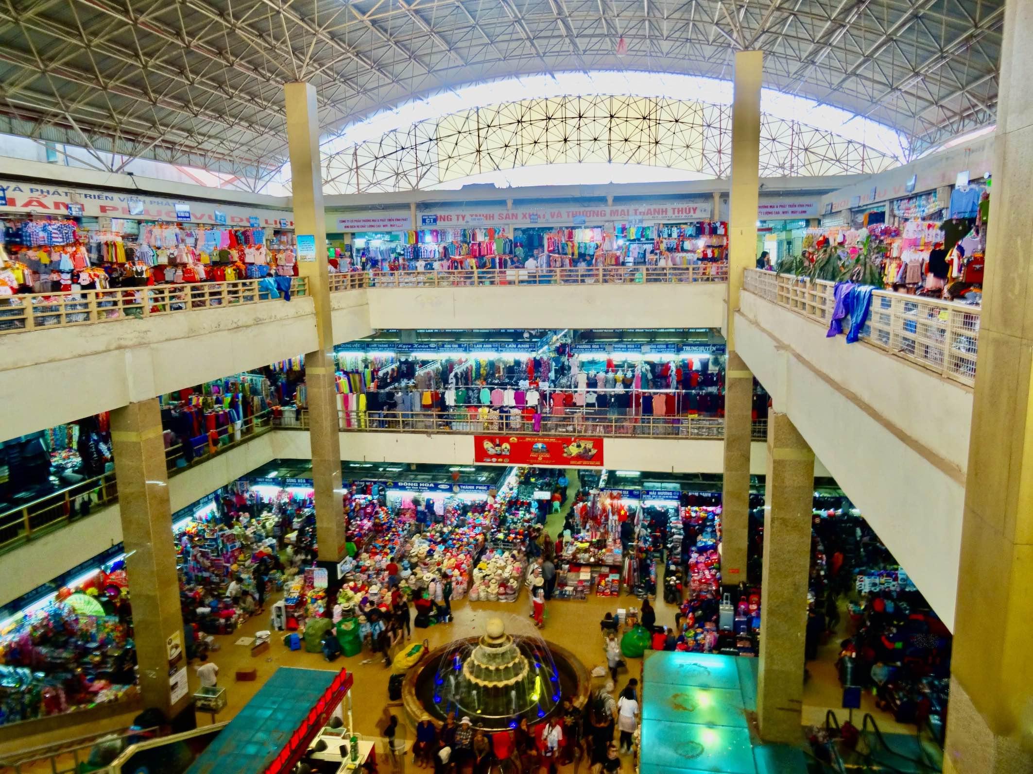 Inside Dong Xuan Market.