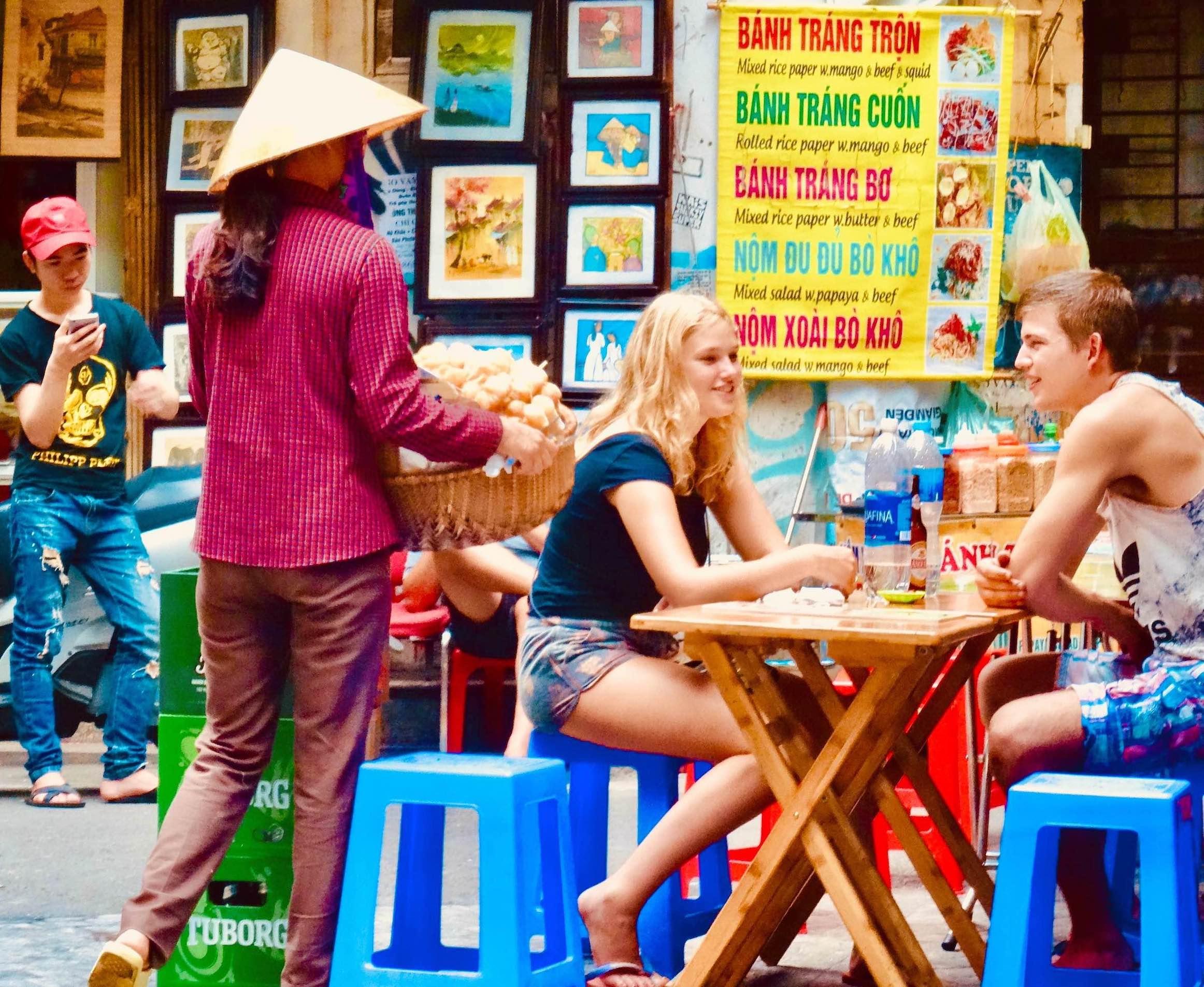 Lunch in the Hanoi Old Quarter Vietnam