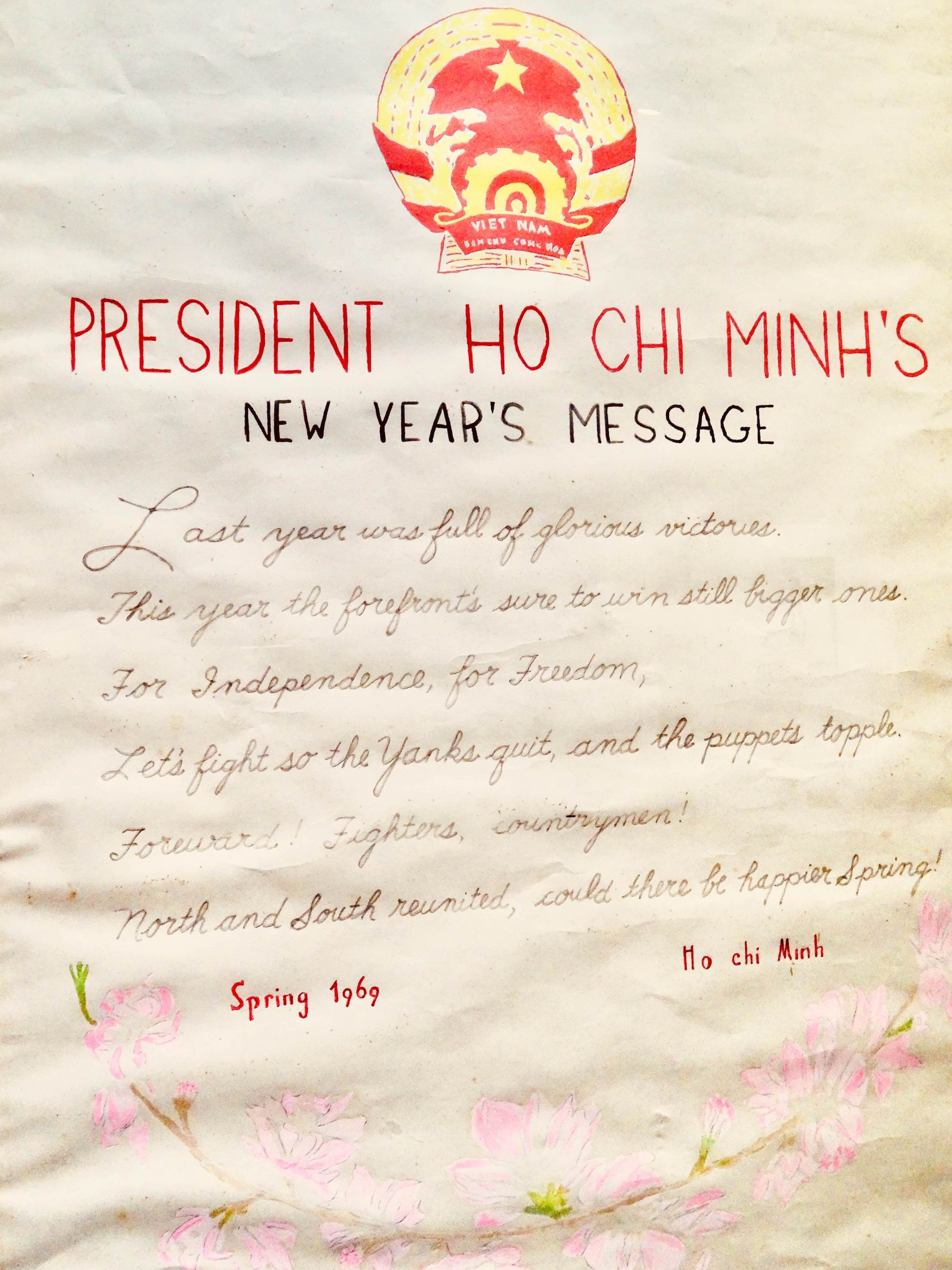 President Ho Chi Minh's handwritten New Year's Message 1969