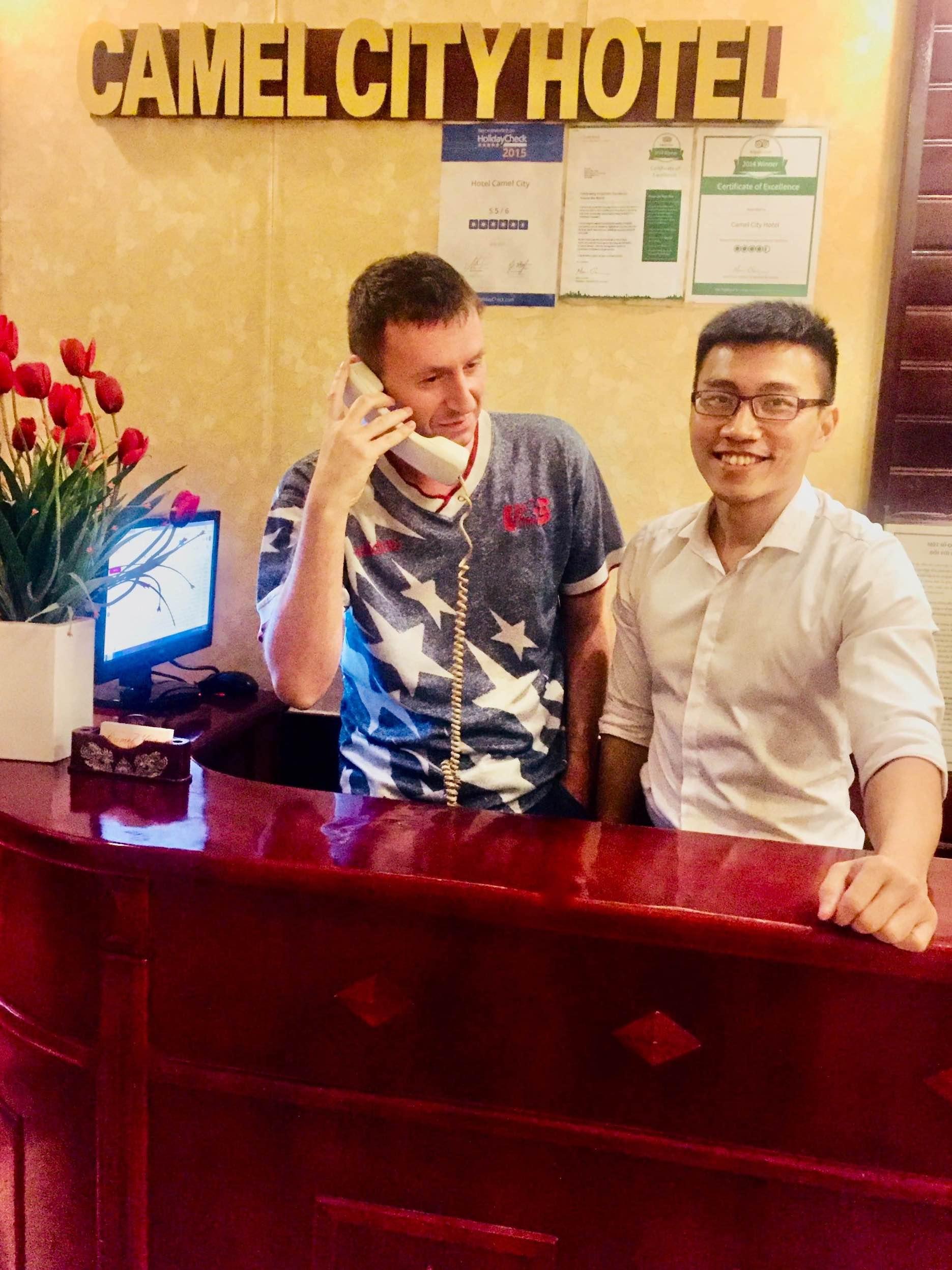 Reception desk Camel City Hotel in Hanoi
