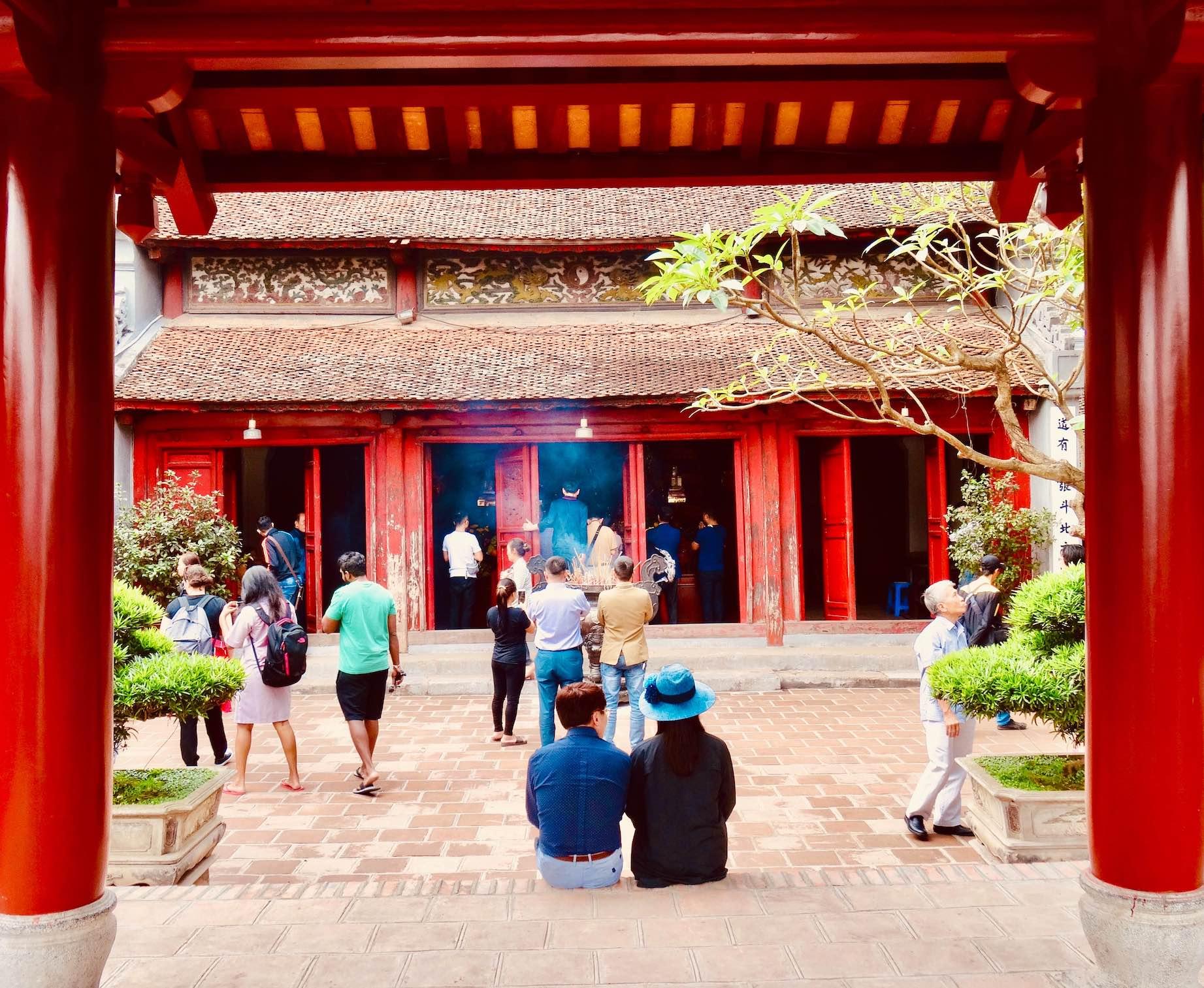 Visit Ngoc Son Temple in Hanoi.