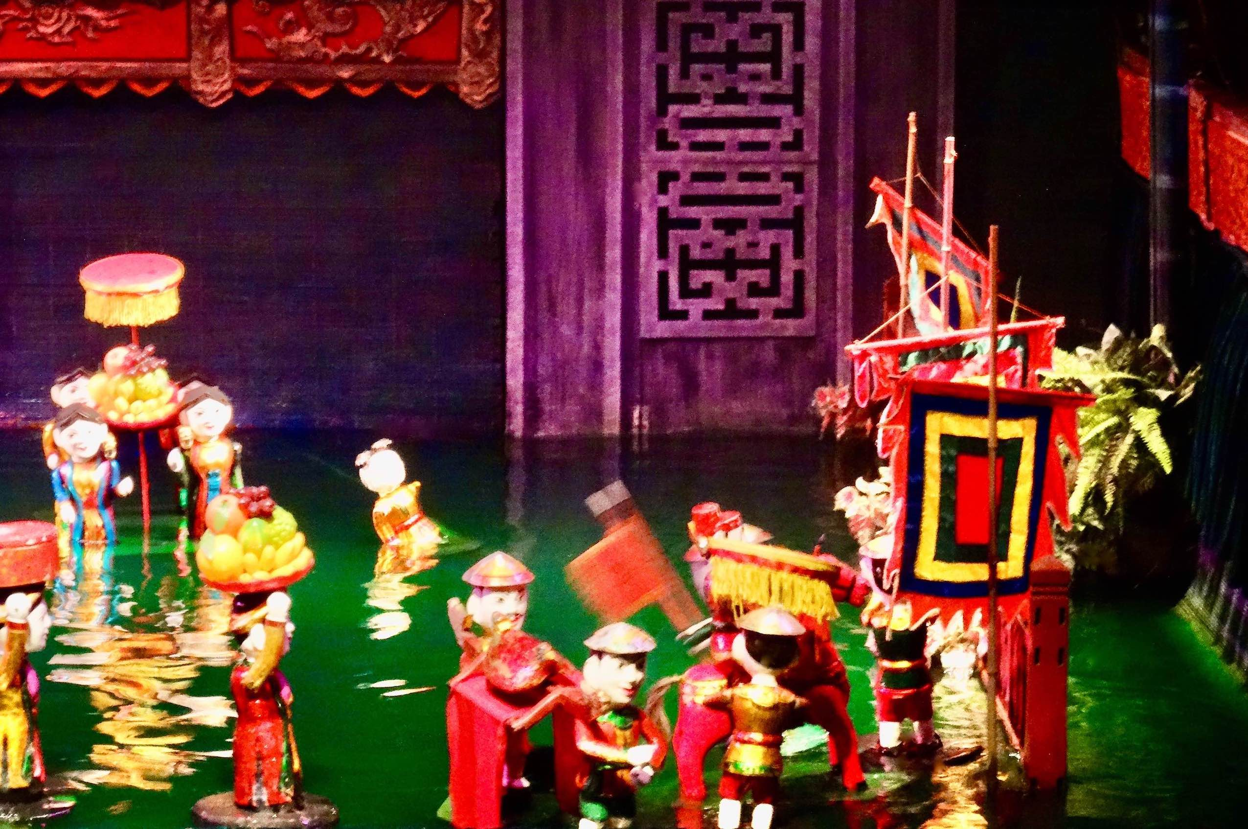 Wooden water puppets Hanoi Vietnam.