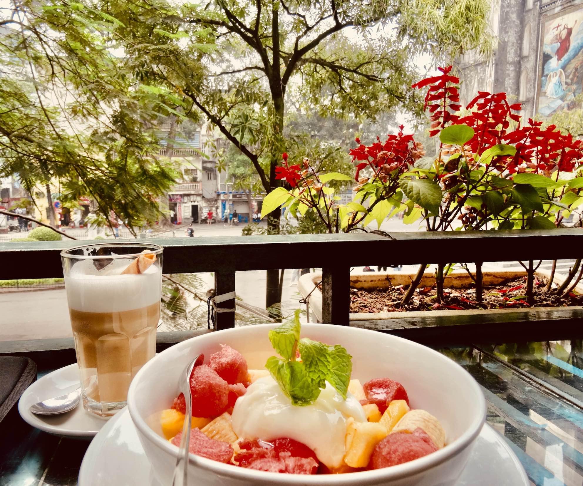 Breakfast at La Place Cafe in Hanoi.