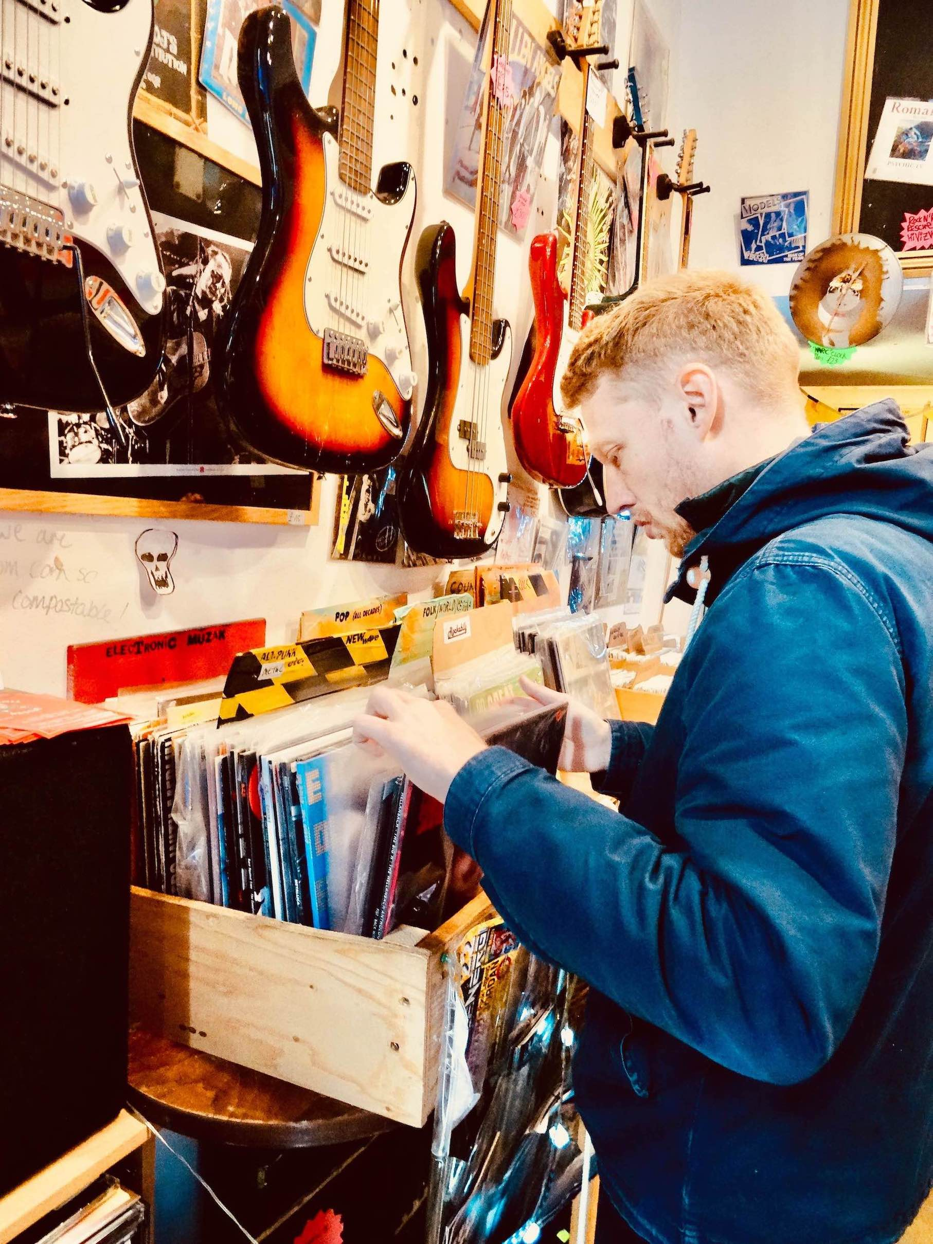 Browsing the vinyl at Rock 'n' Roll Rescue