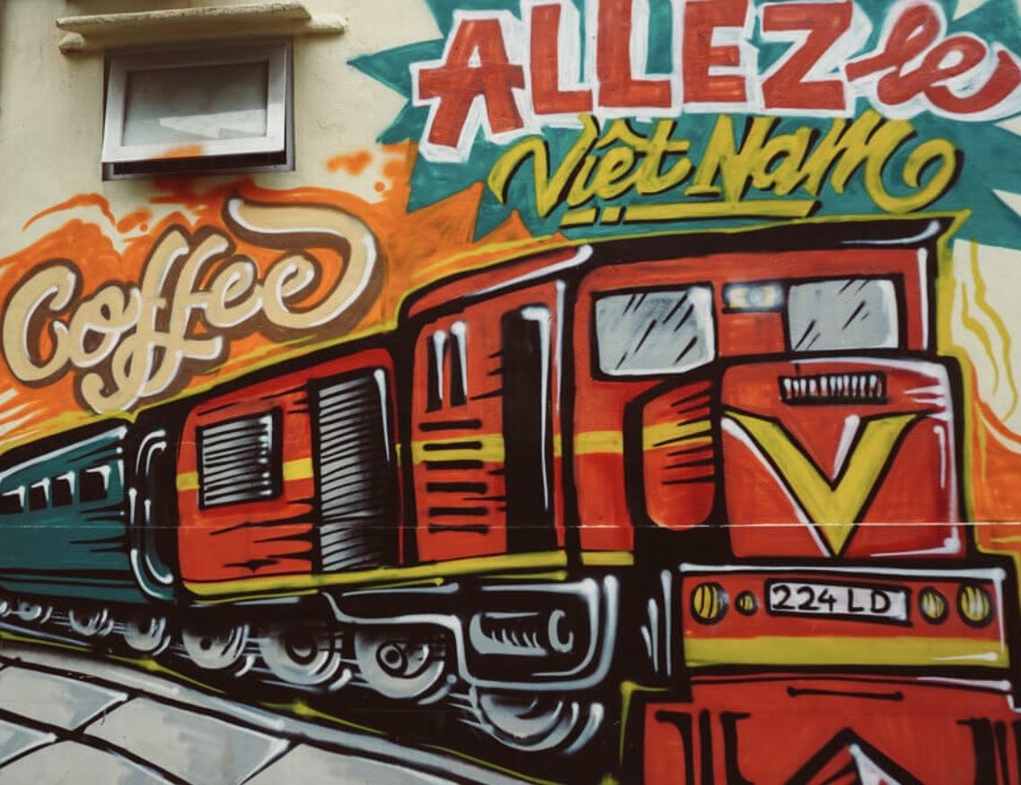 Building mural Hanoi Train Street.