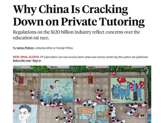 China cracking down on online tutoring.