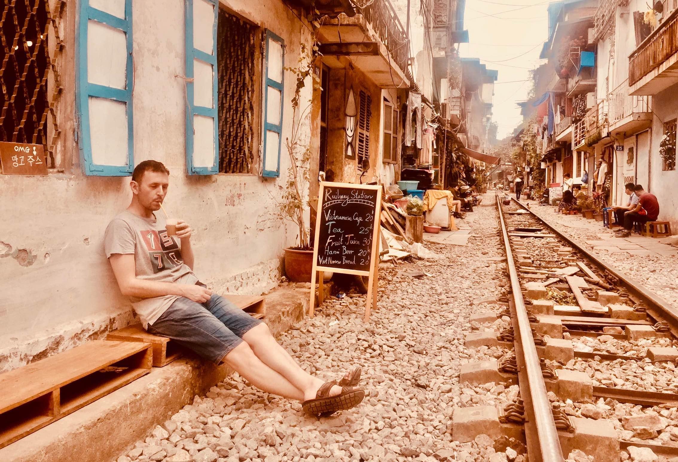 Coffee on Hanoi Train Street 2018.