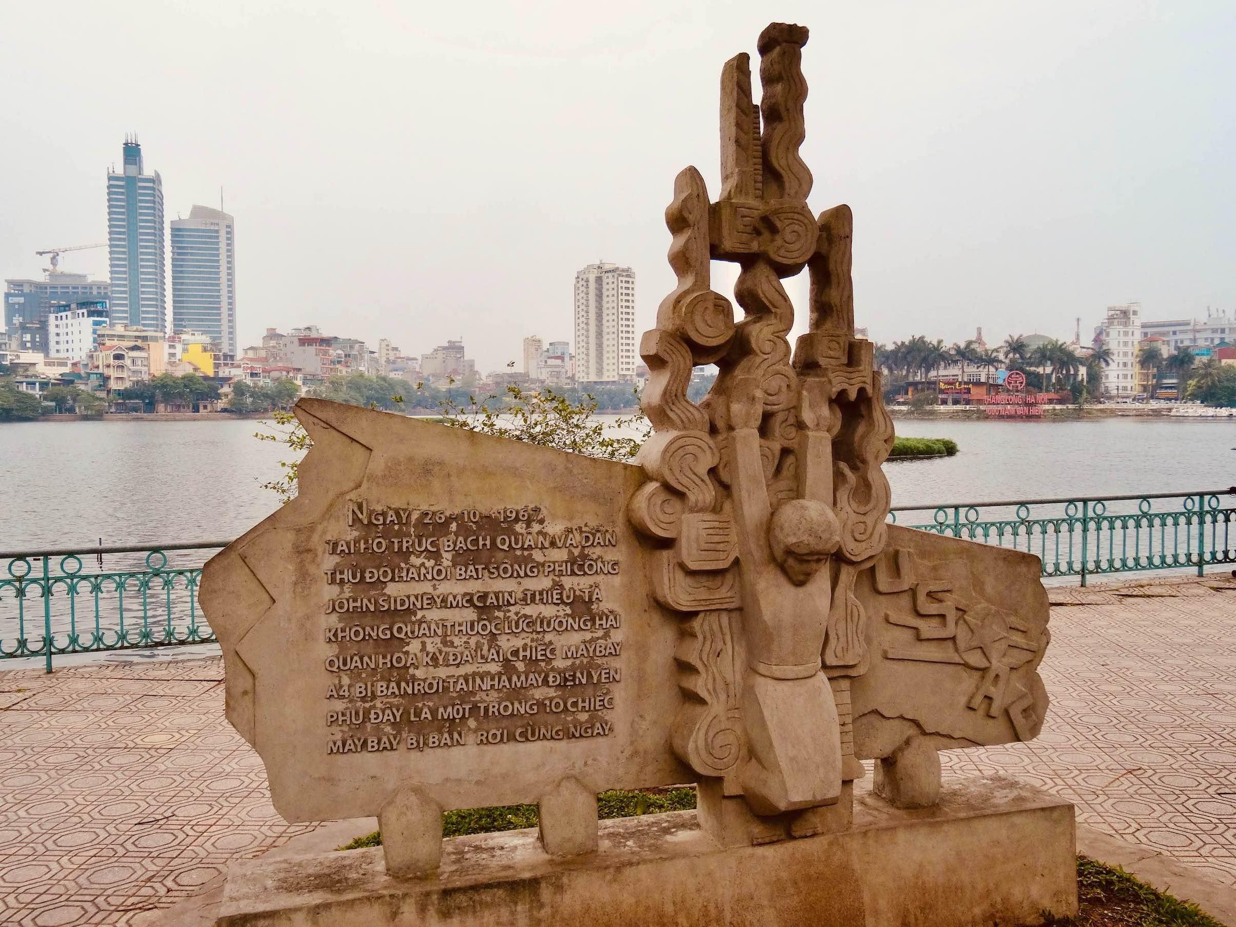 John McCain Monument Truc Bach Lake Hanoi