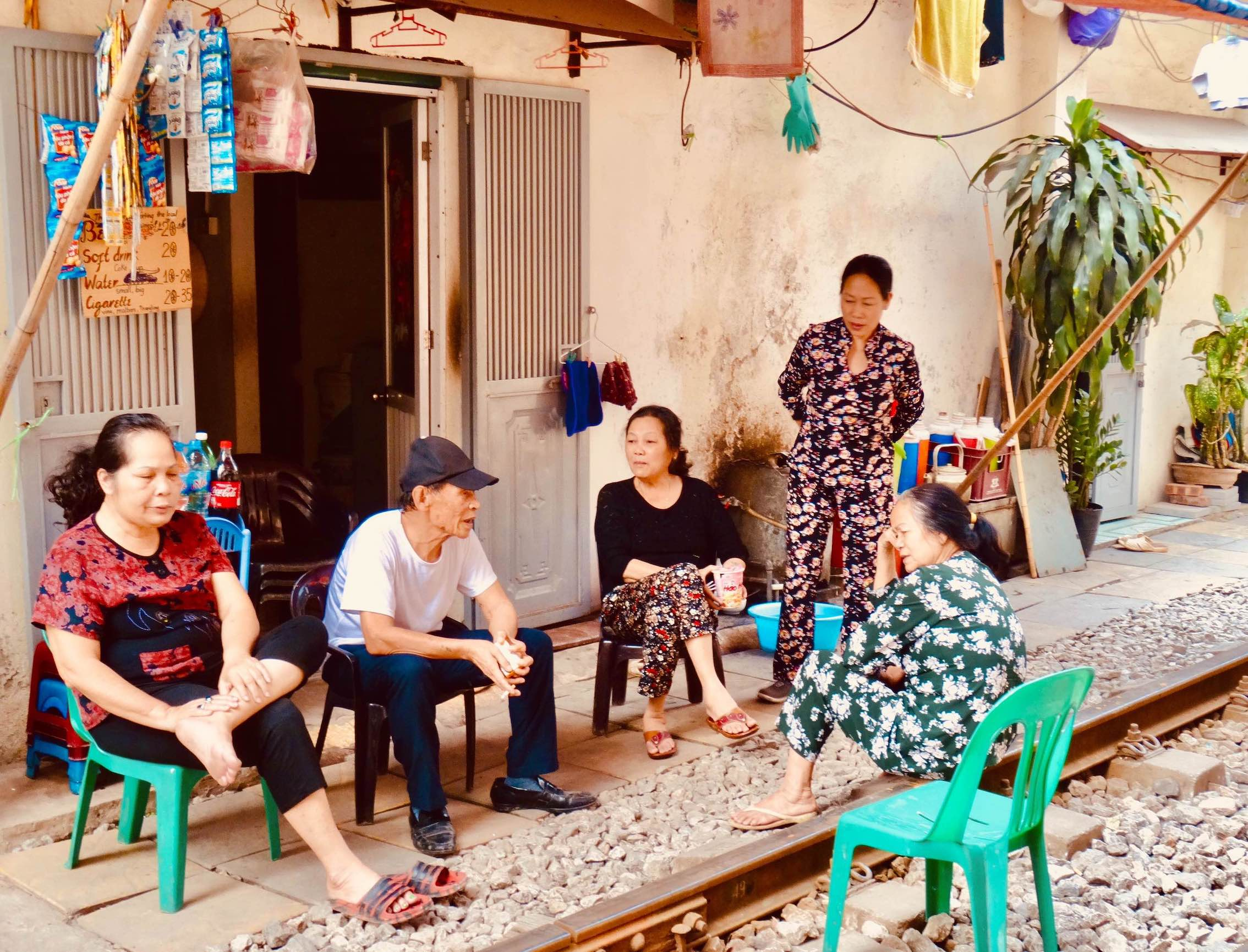 Local residents Hanoi Train Street.