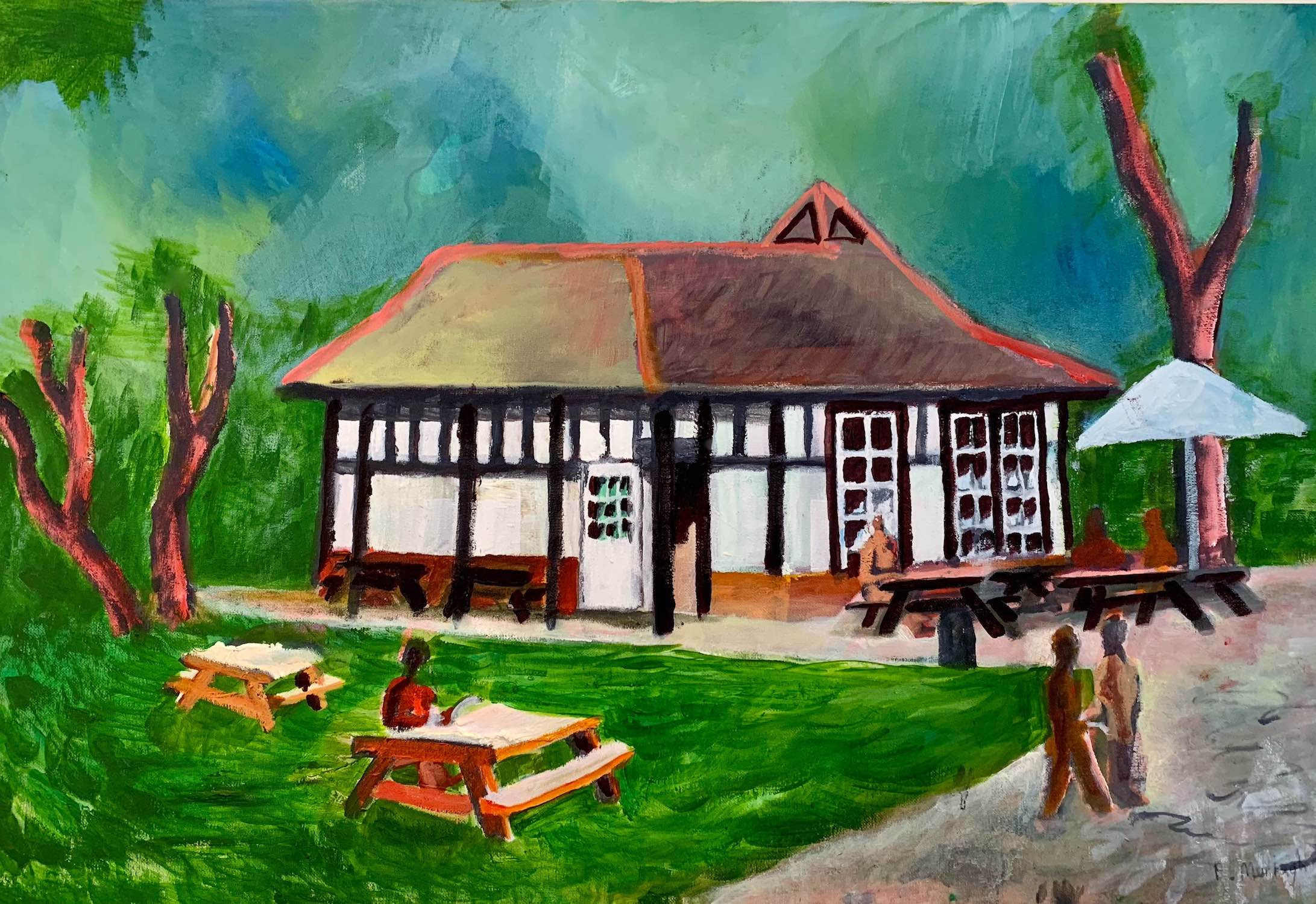 Painting of Tooting Bec Common London