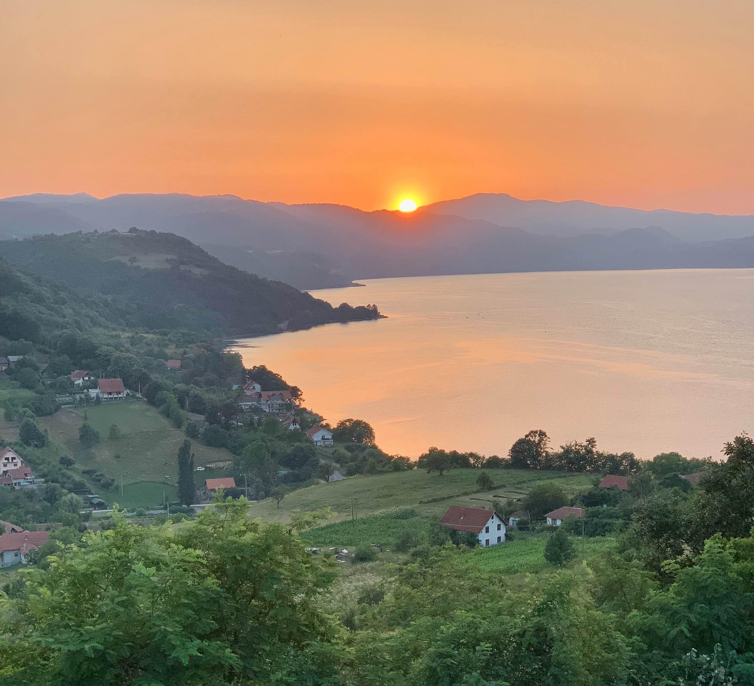 Sunset over Donji Milanovac in Serbia